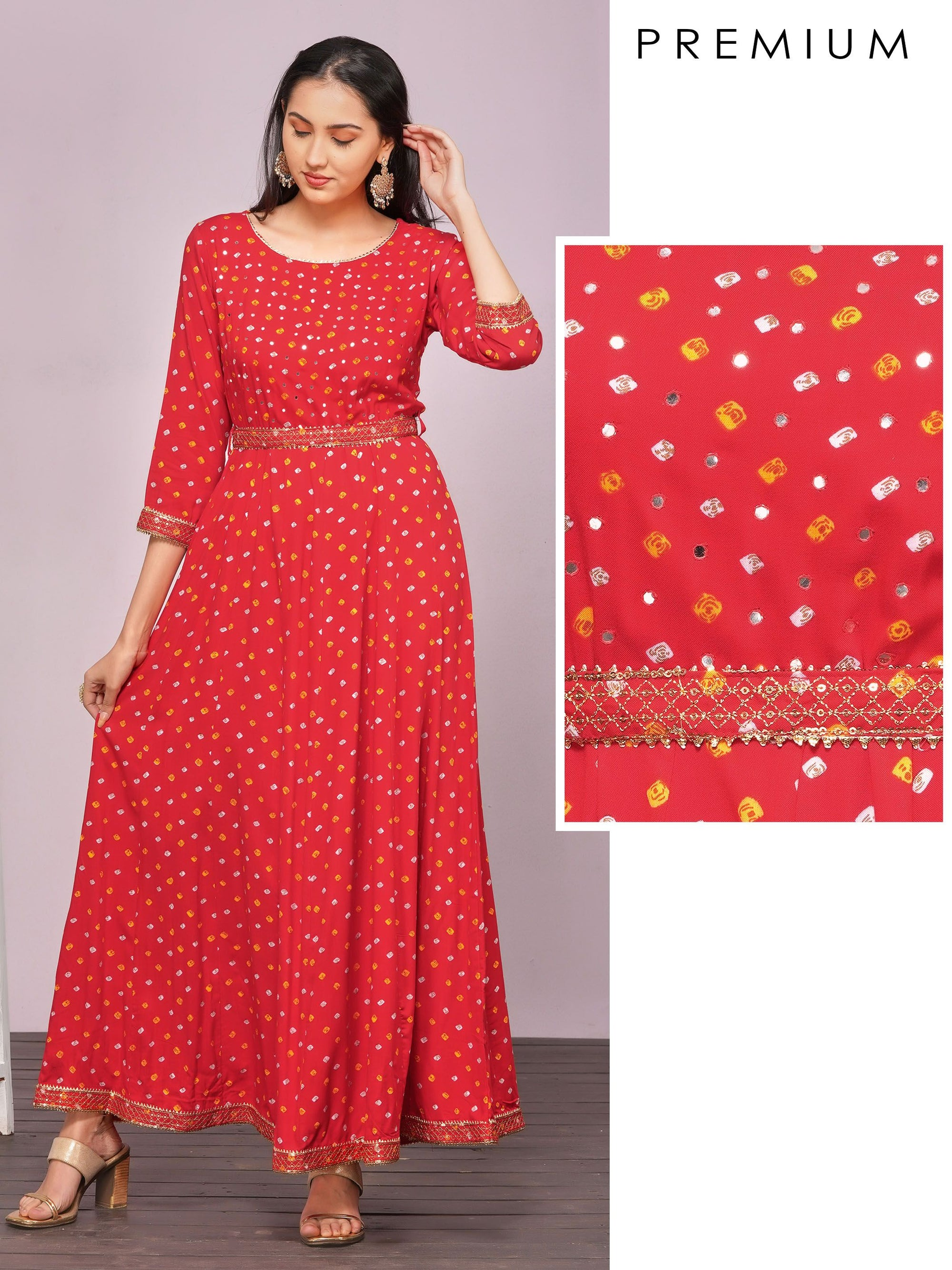 Sequins & Temple Gota Embellished Bandhani Maxi – Ruby Red