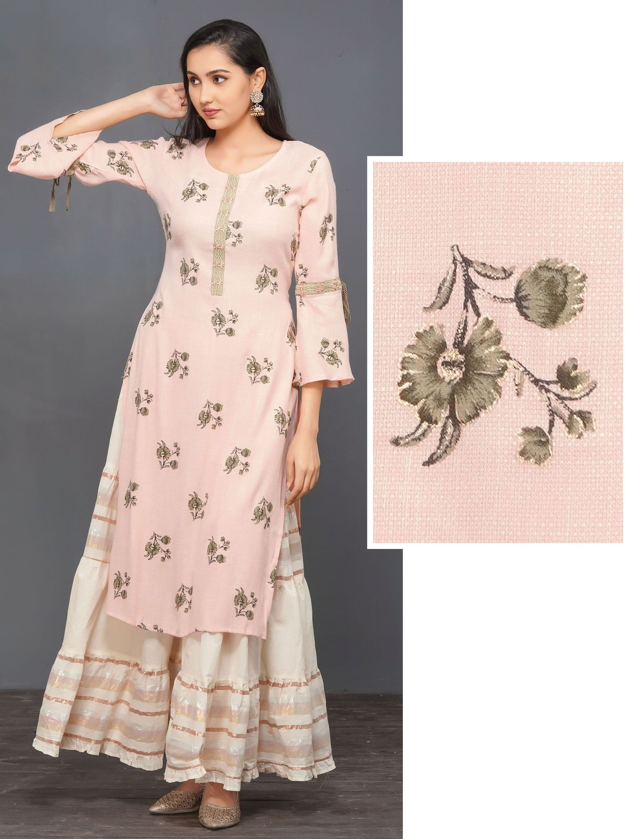 Zari Embroidered & Floral Printed Kurti – Baby Pink