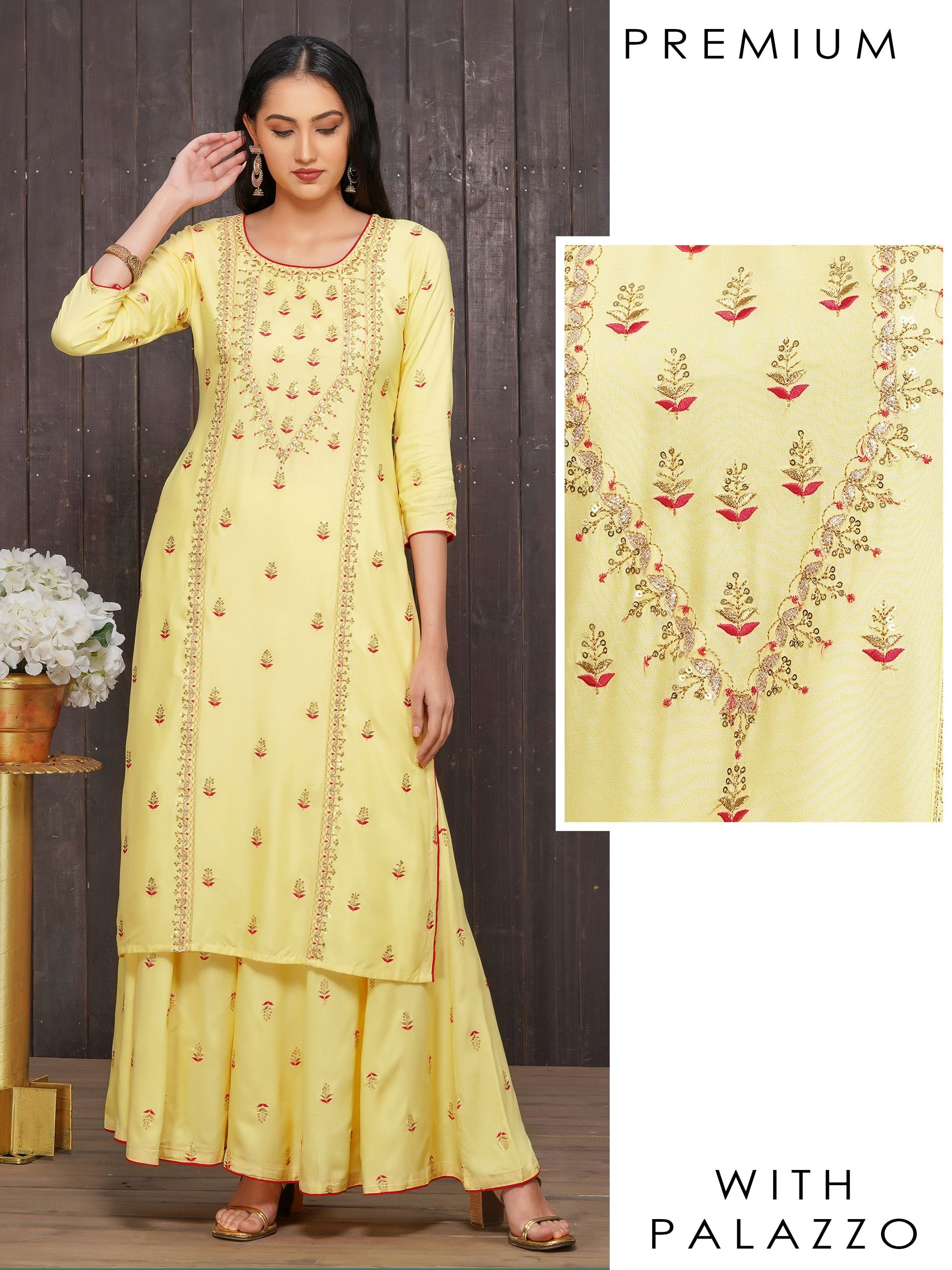 Monochromatic Sequins & Leaf Embroidered Kurti with Flared Palazzo Set –  Yellow