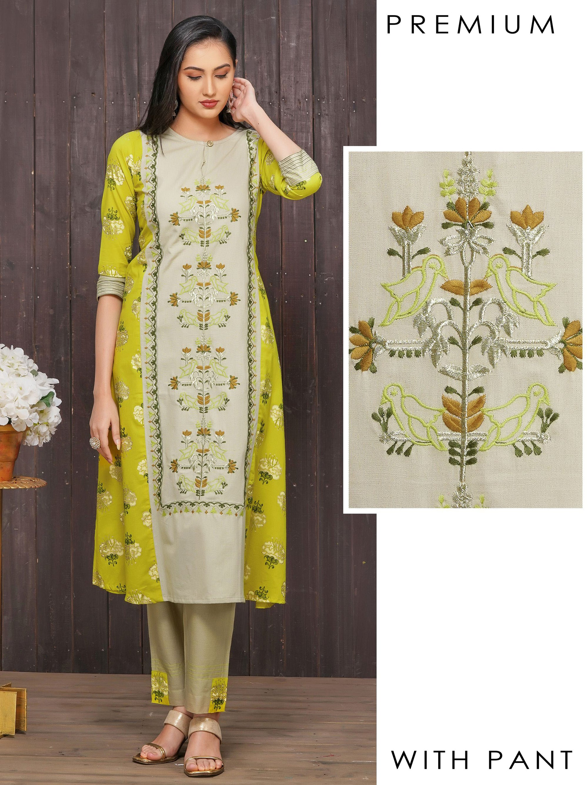 Floral & Bird Embroidered Kurti with Pant Set