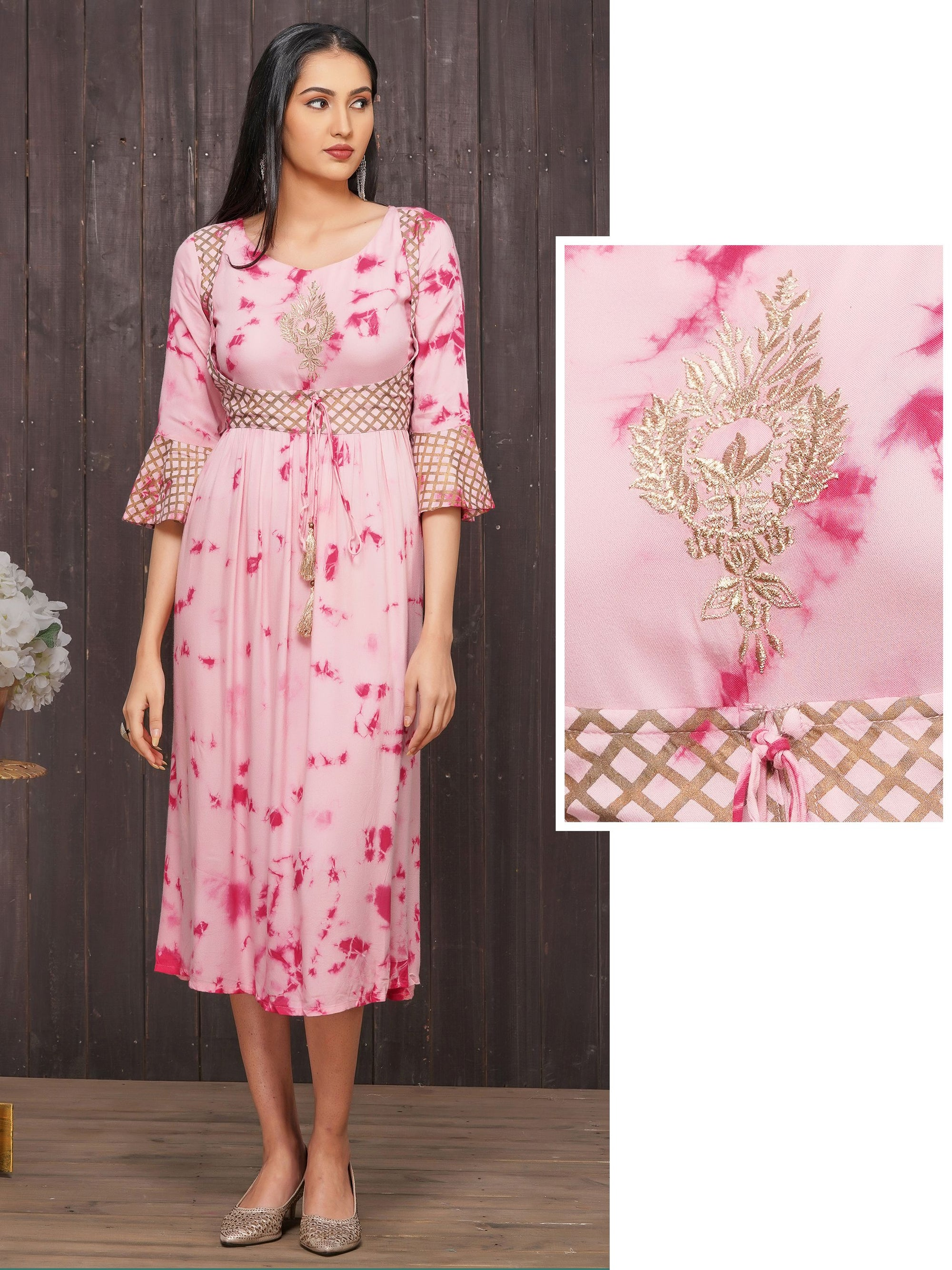 Tie & Dyed, Zari Embroidered Maxi – Pink