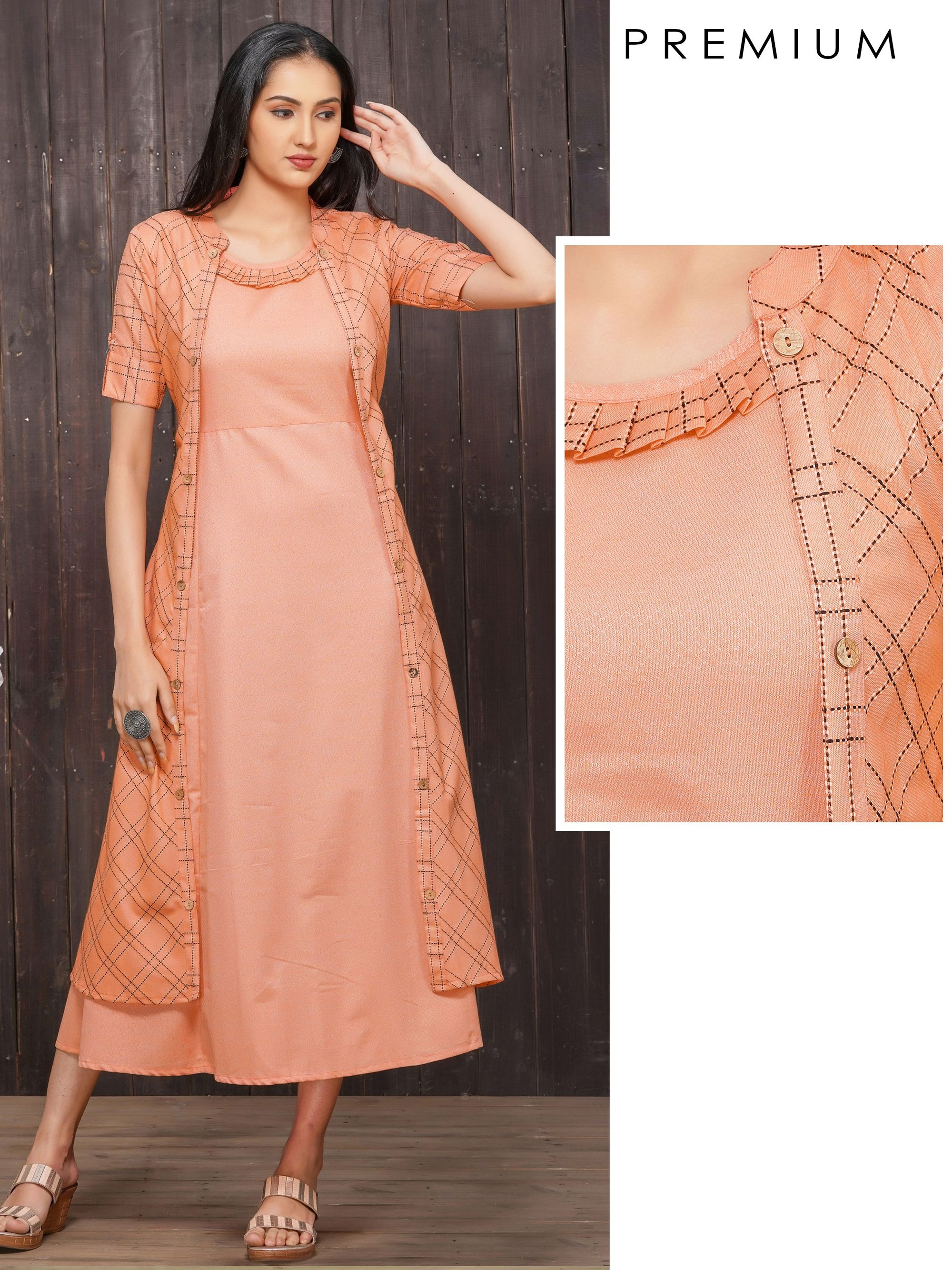 Solid A-Line Maxi with Checkered Jacket – Peach