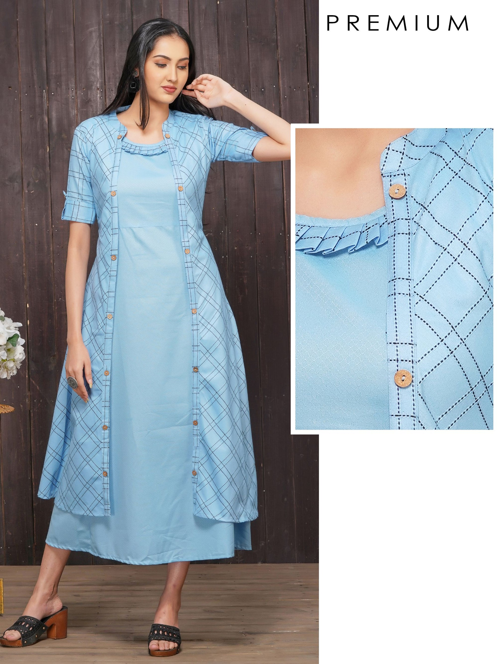 Solid A-Line Maxi with Checkered Jacket – Powder Blue