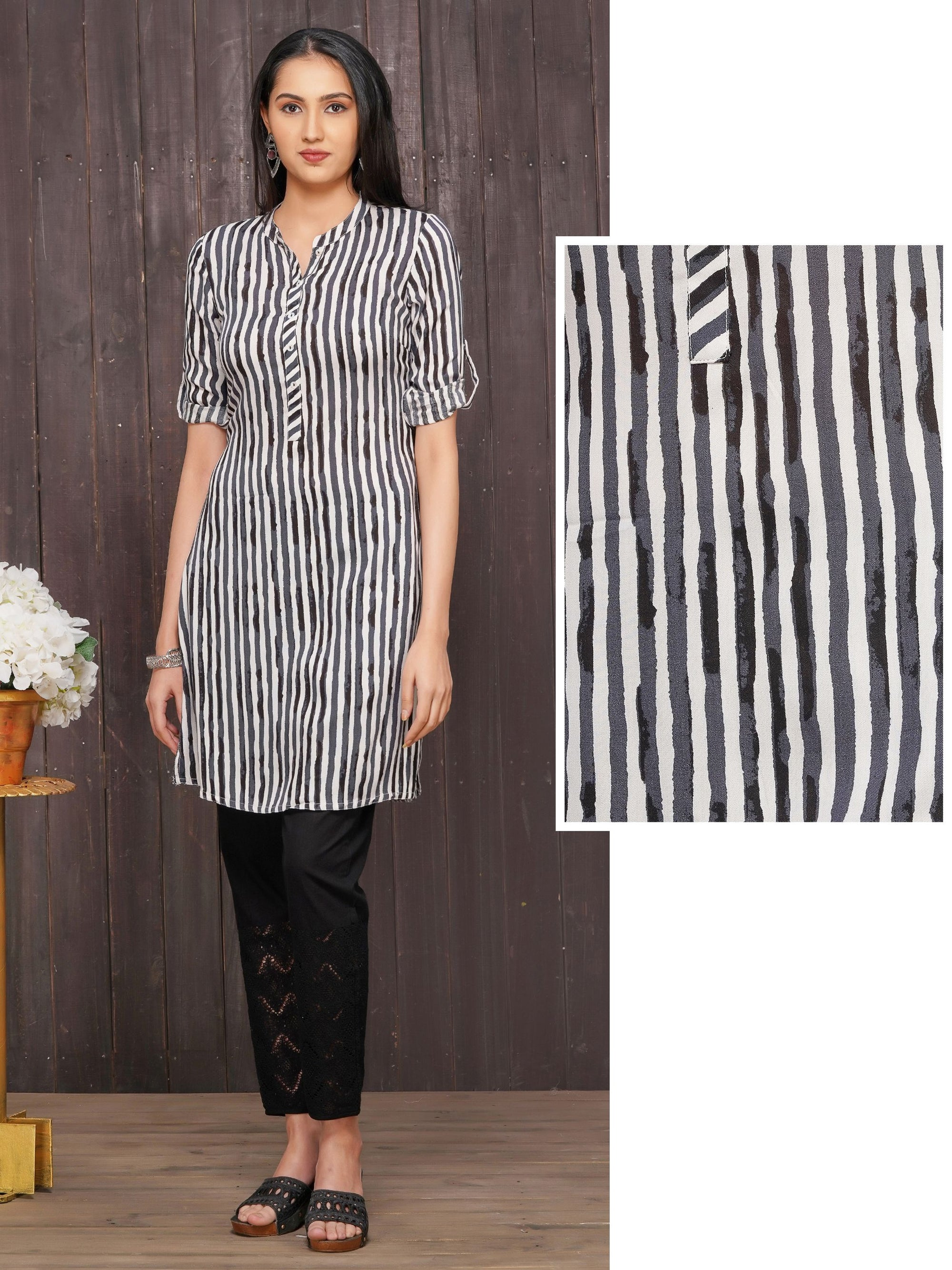 Mother of Pearl Buttoned & Vertical Striped Kurti