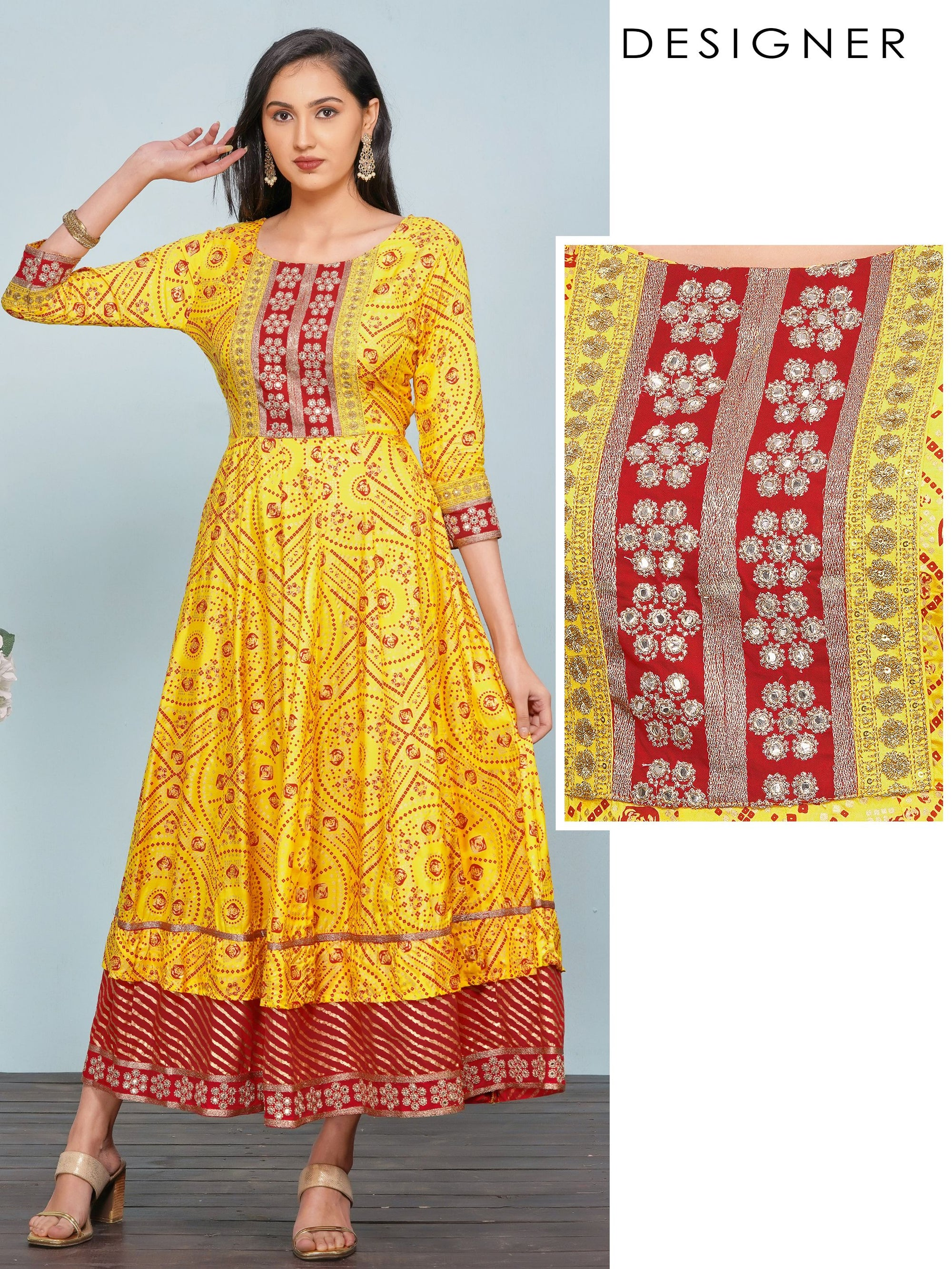 Foil Mirror worked & Bandhani Printed Multi-Panel Maxi –Yellow
