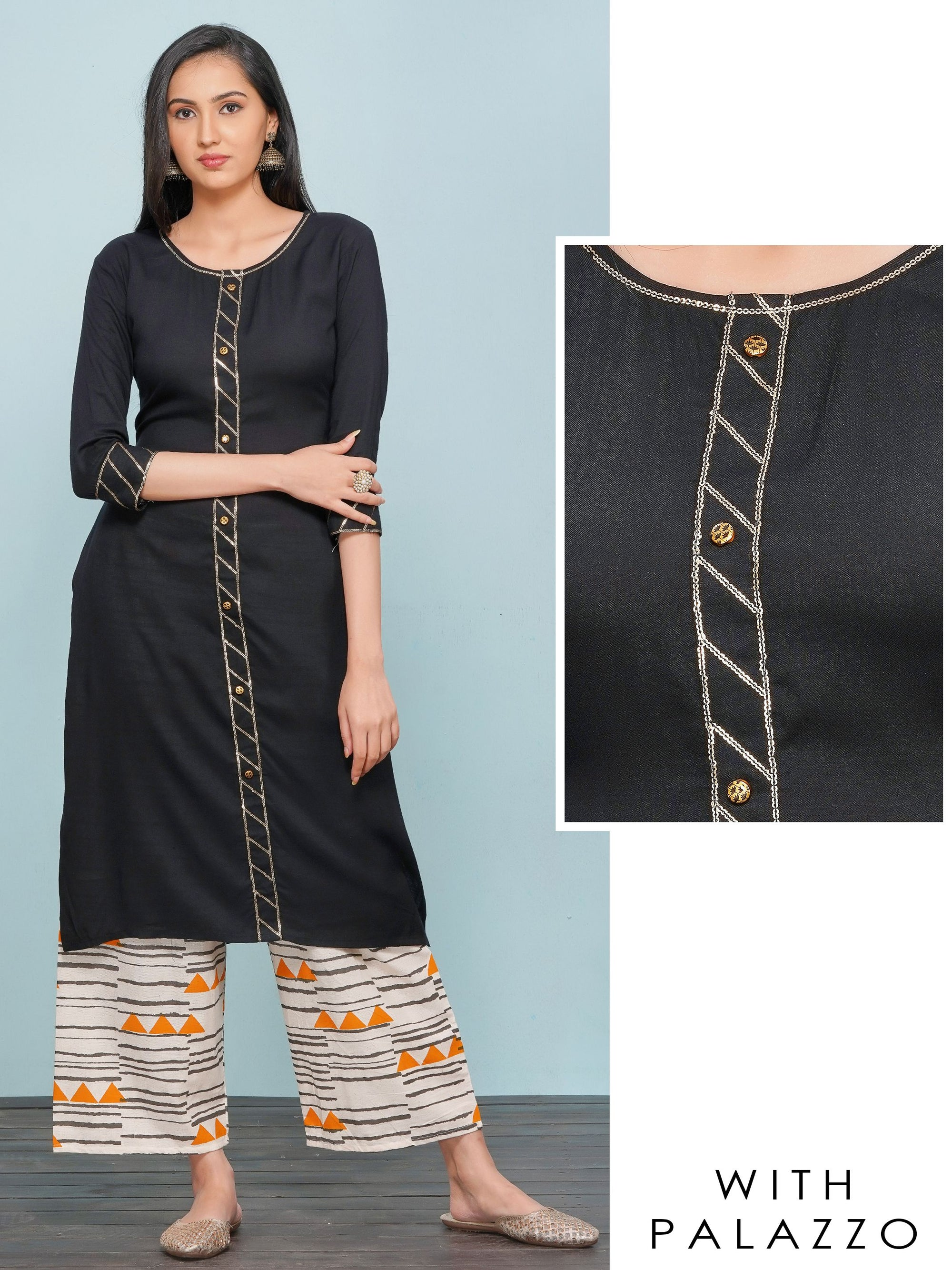 Sequins Embellished Kurti with Tribal Printed Palazzo Set – Black