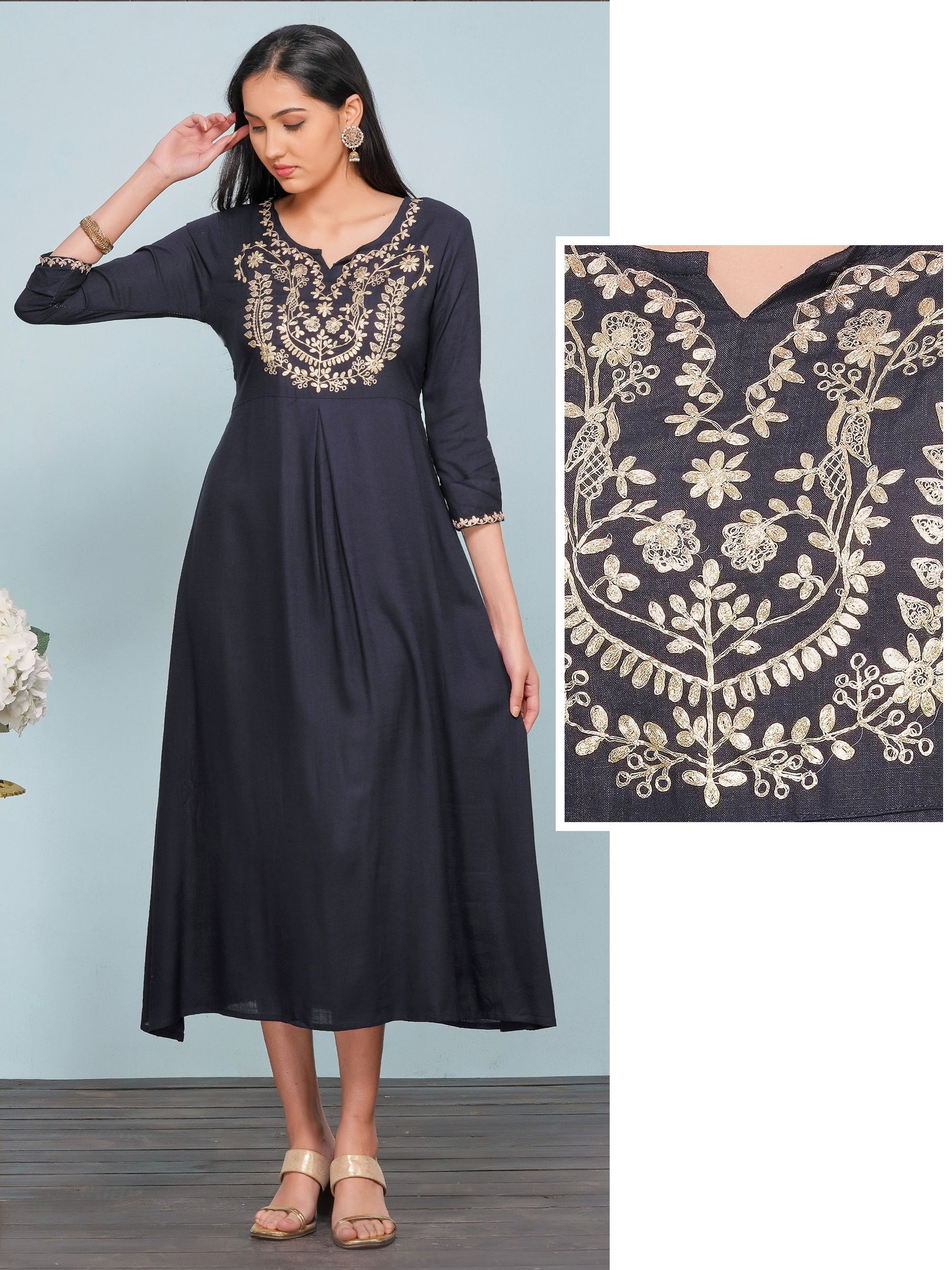 Rose Gold Floral Cord Embroidered A-Line Maxi – Navy Blue