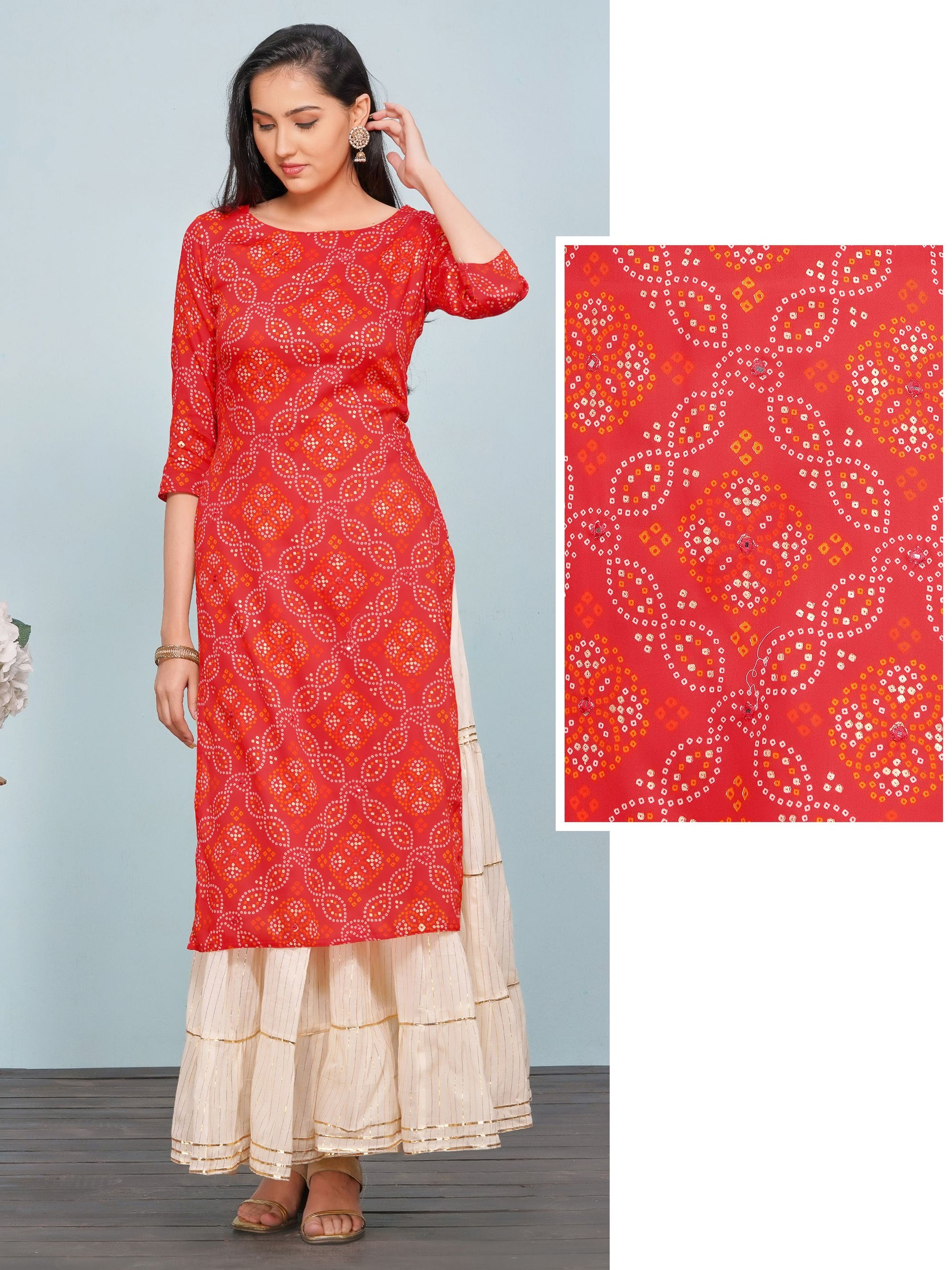 Serpentine Bandhani Printed Kurti – Red