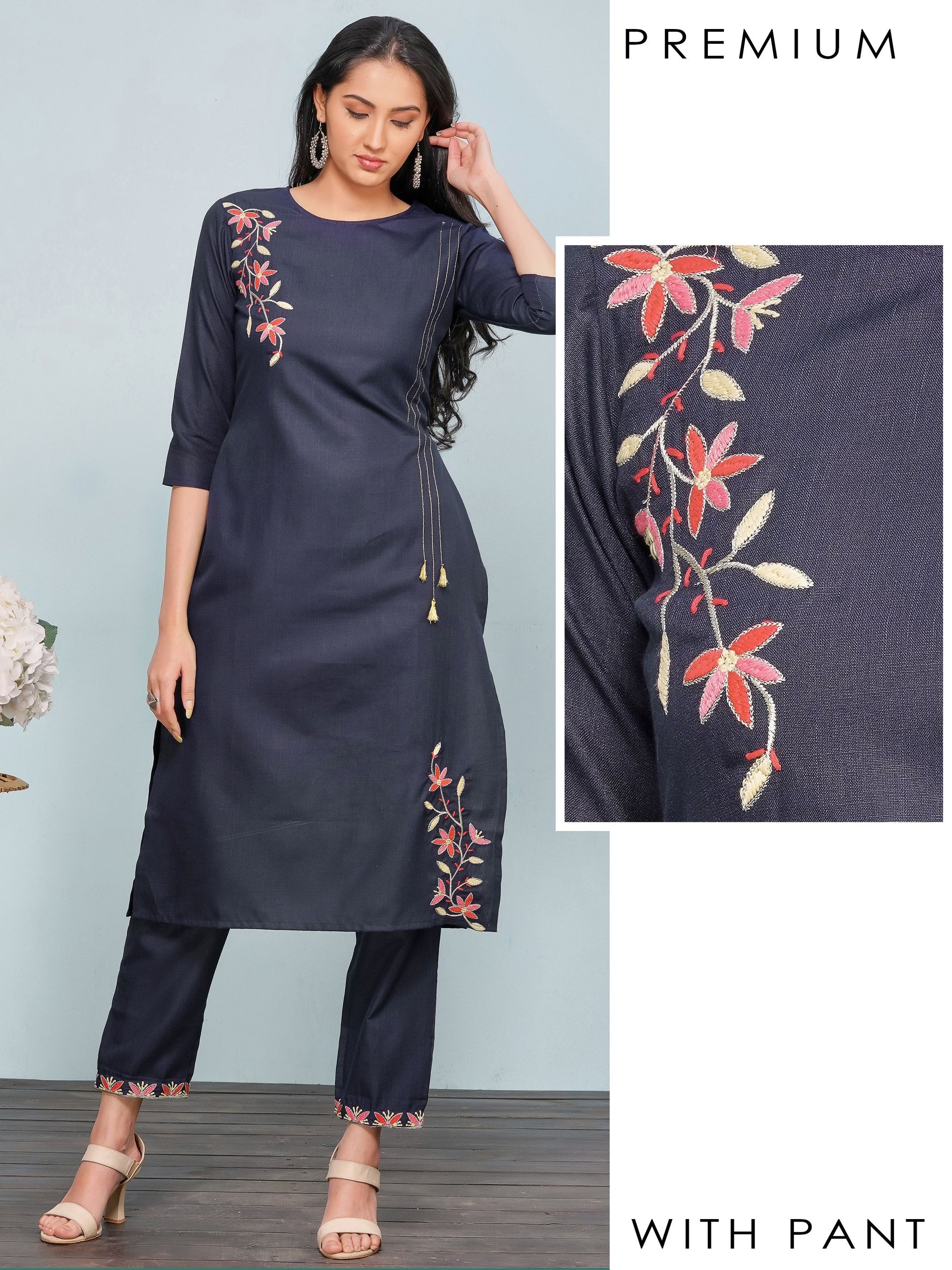 Monotone Zari & Floral Embroidered Kurti with Pant – Navy Blue