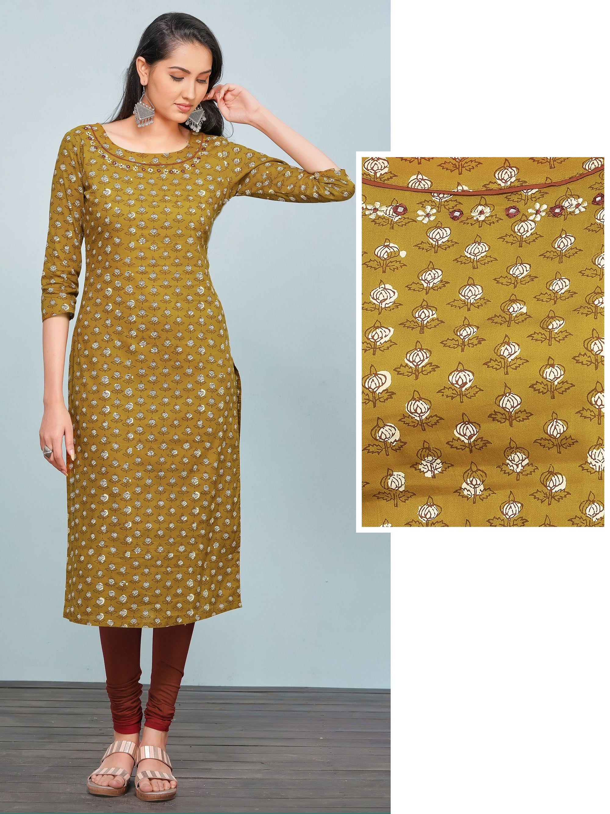 Minimal Embroidered Floral Printed Kurti