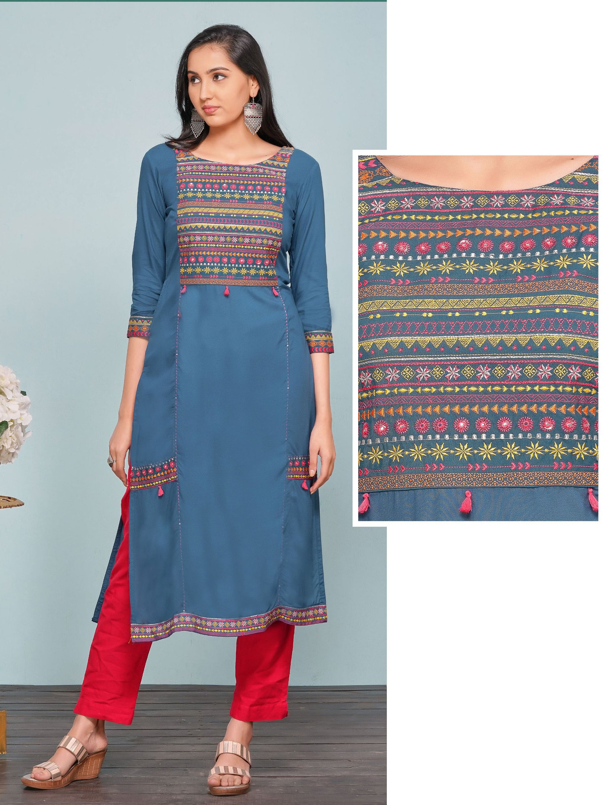 Tribal Embroidered Panel Kurti – Livid Blue