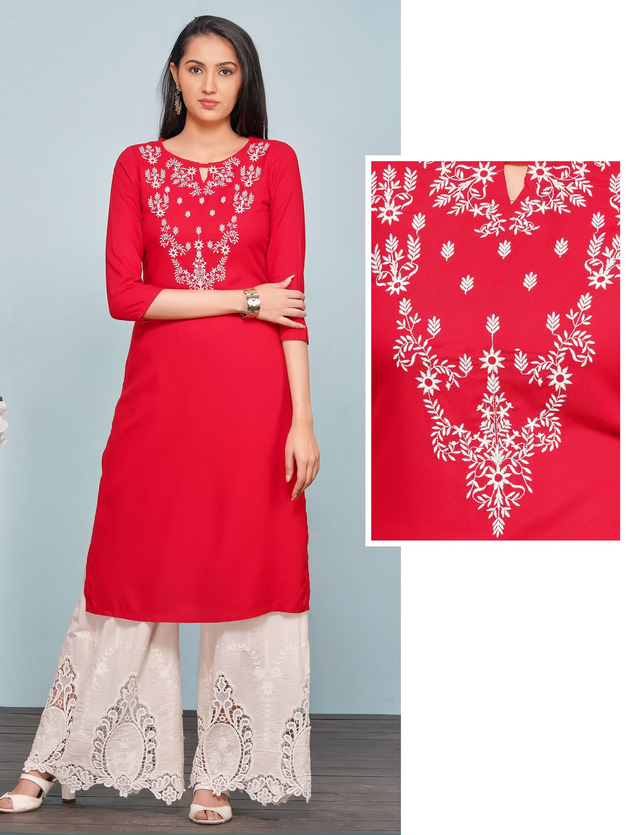 Minimal Floral Embroidered Rayon Kurti – Red