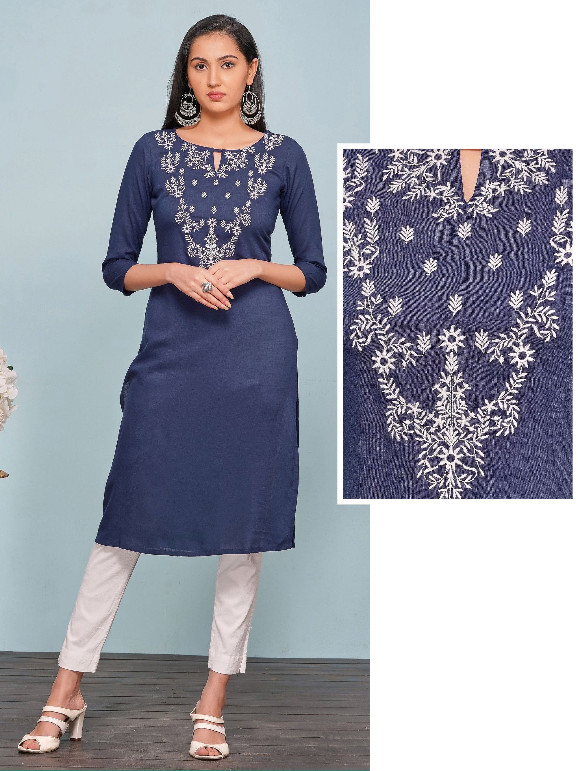 Minimal Floral Embroidered Rayon Kurti – Navy Blue