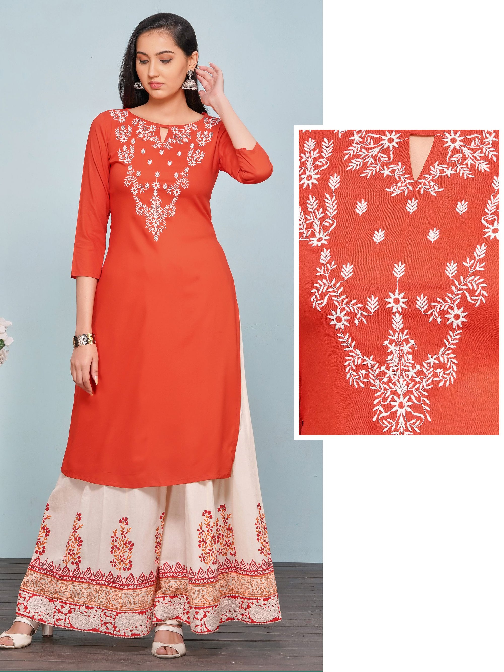 Minimal Floral Embroidered Rayon Kurti – Orange
