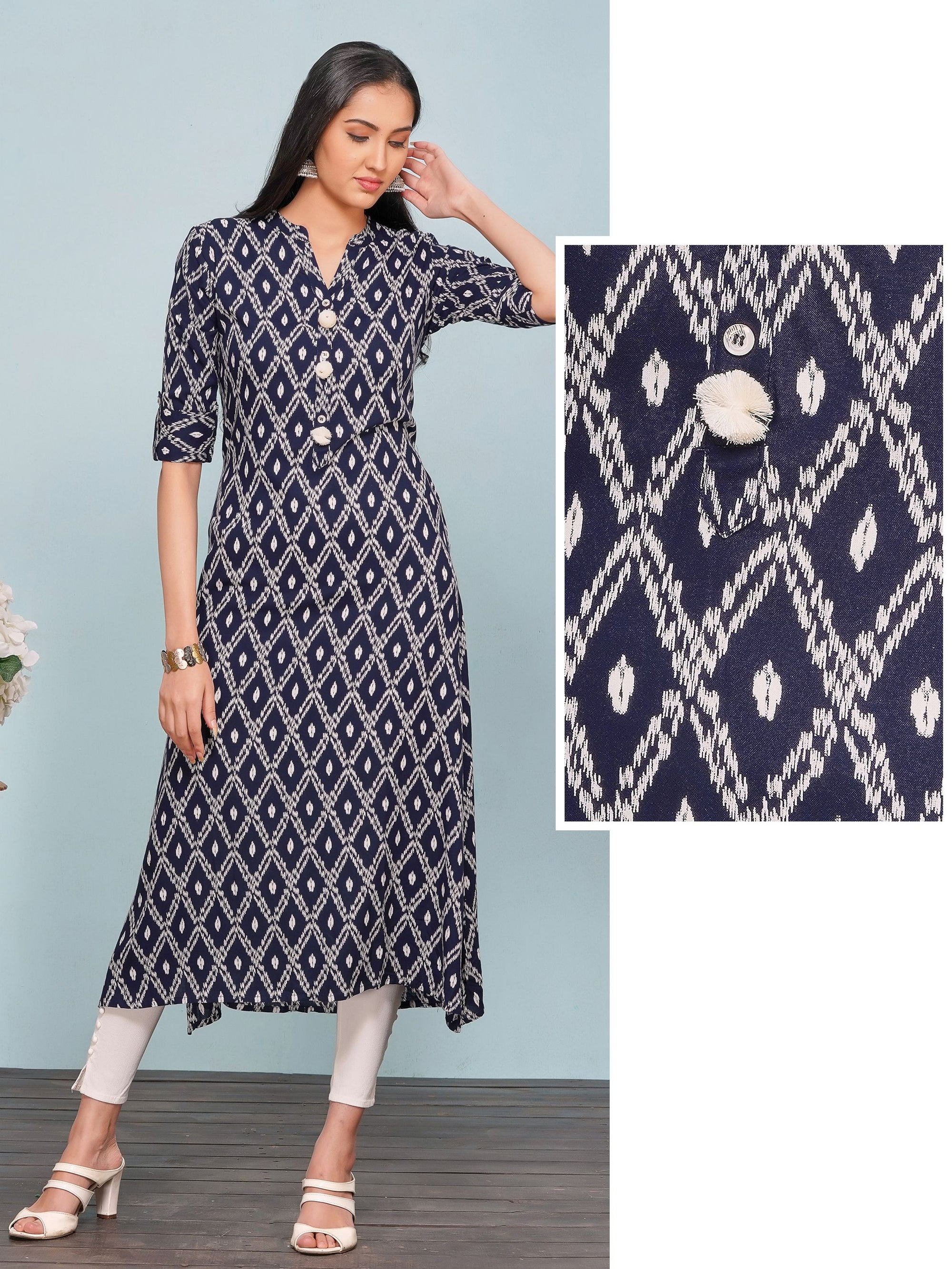 Abstract Ikkat & Diamond Printed Rayon Kurti