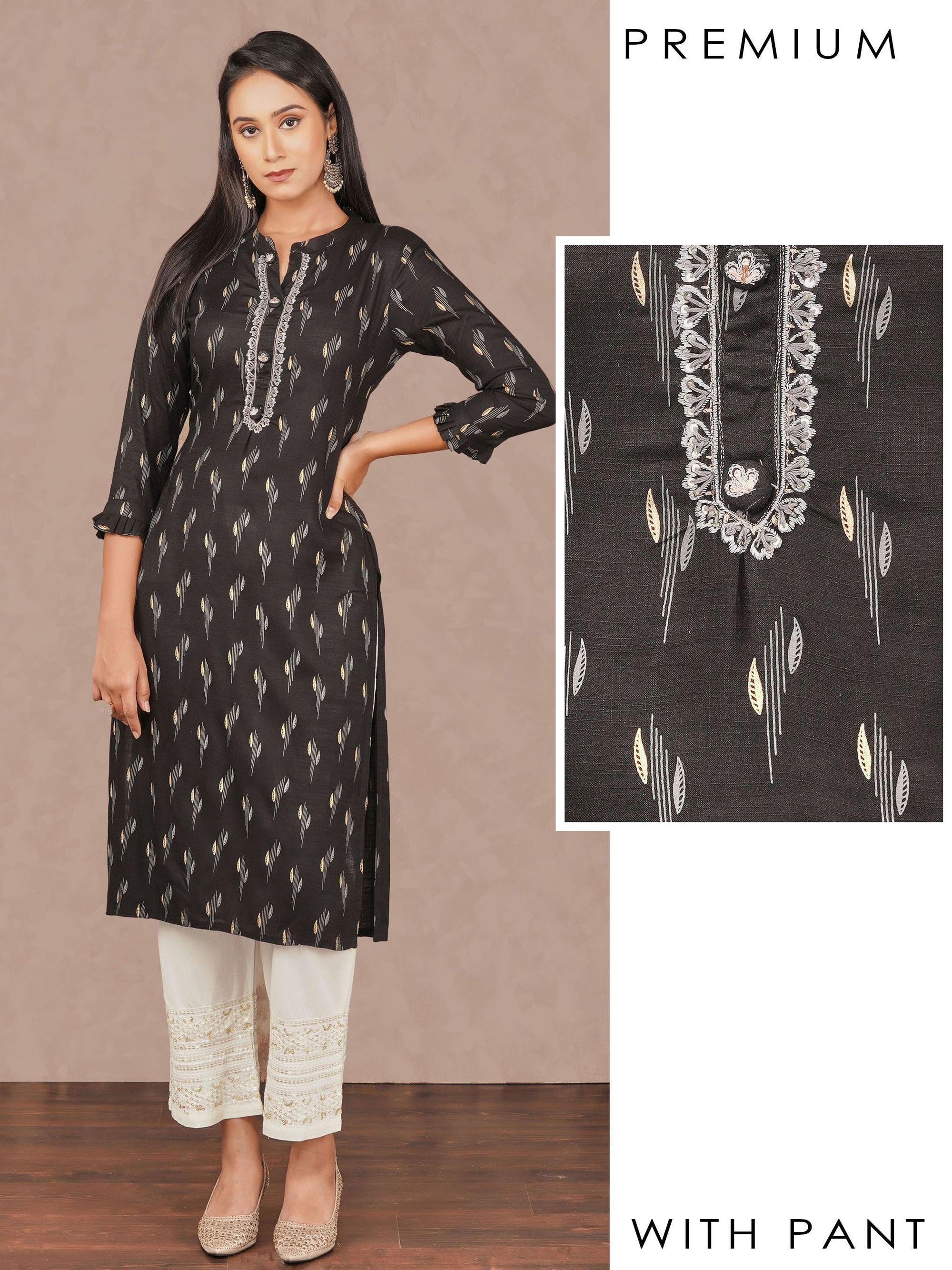 Minimal Embroidered & Leaf Printed Kurti with Sequins Pant Set – Black