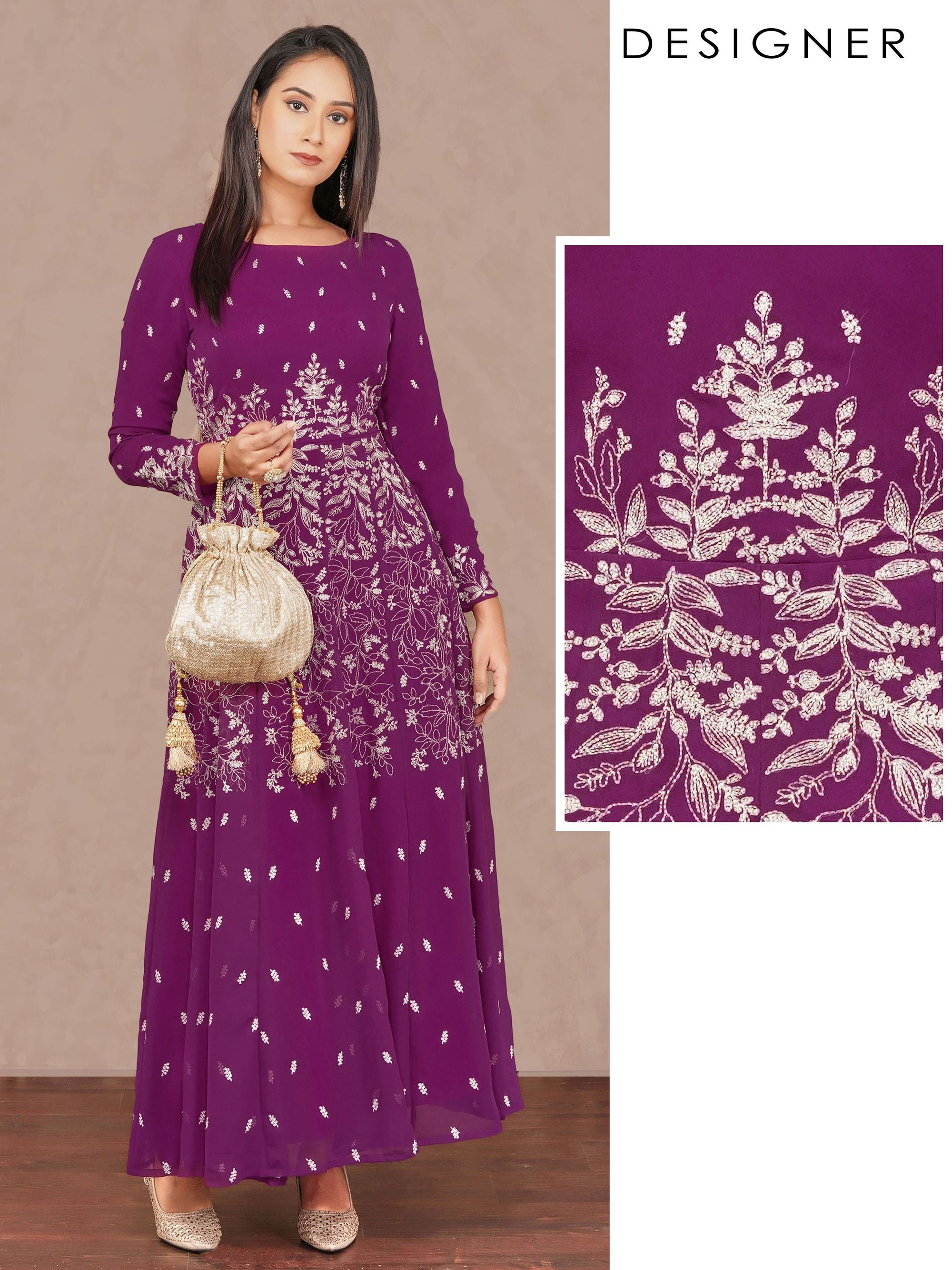 Intense Floral Cord Embroidered Designer Kali – Purple