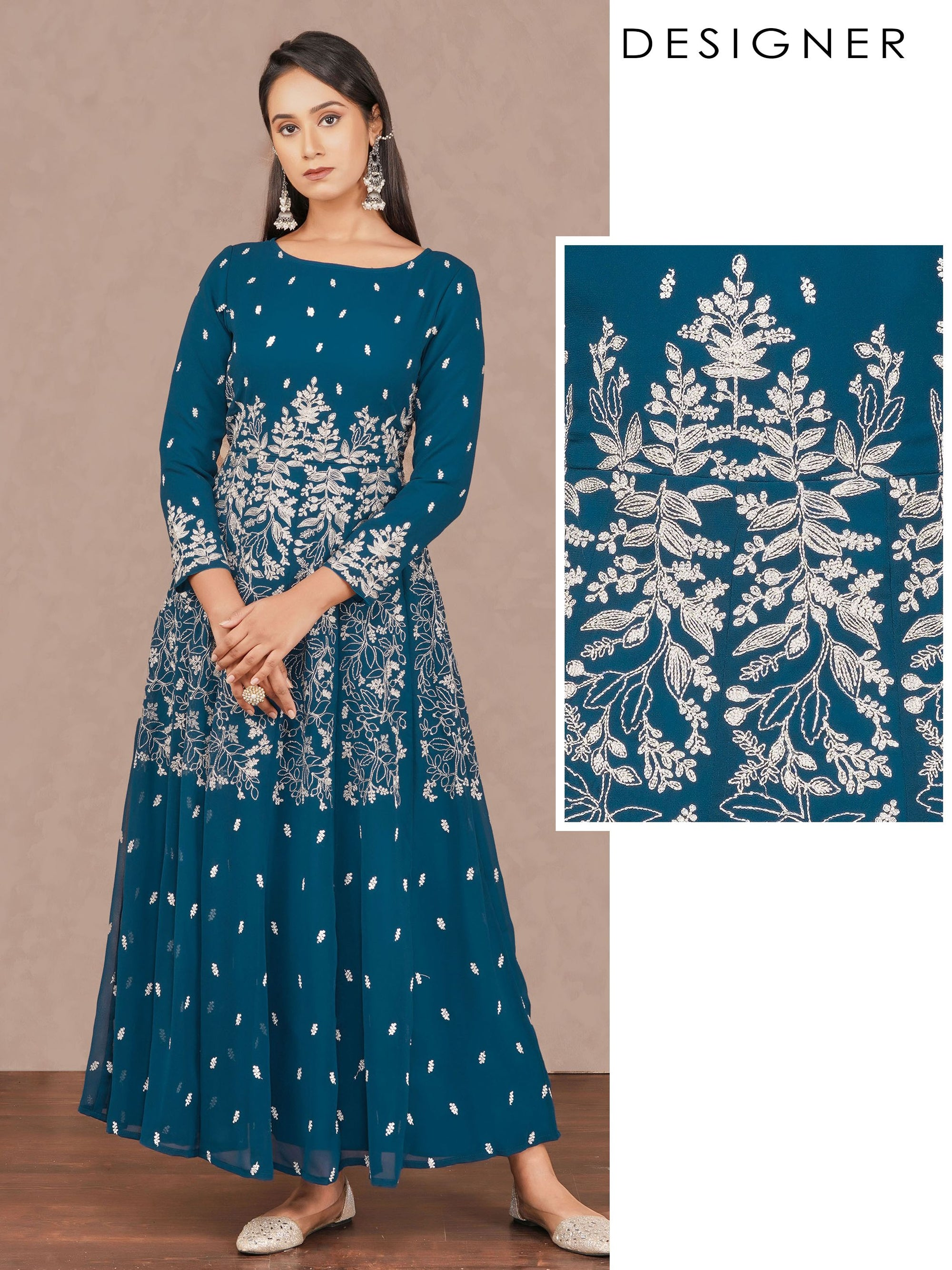 Intense Floral Cord Embroidered Designer Kali – Navy Blue