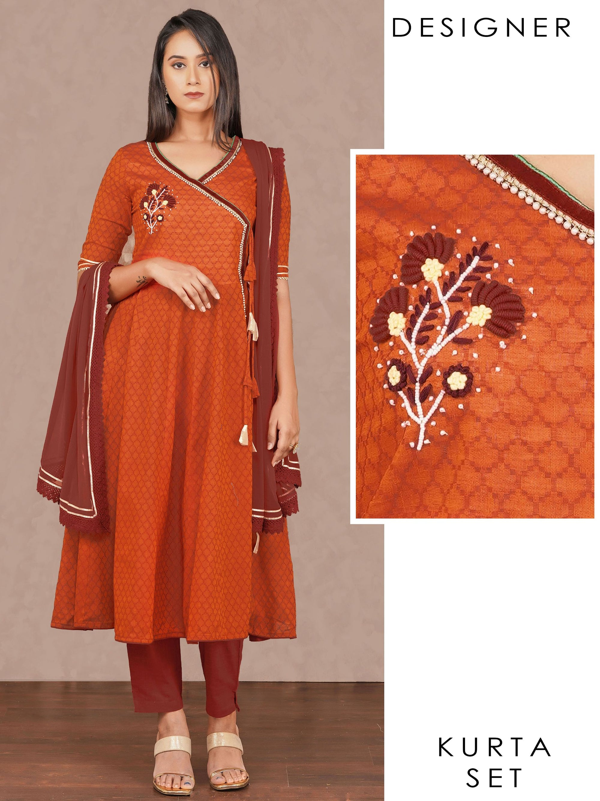 Bullion Embroidered Angrakha Kurti, Solid Pant & Dupatta Set – Orange