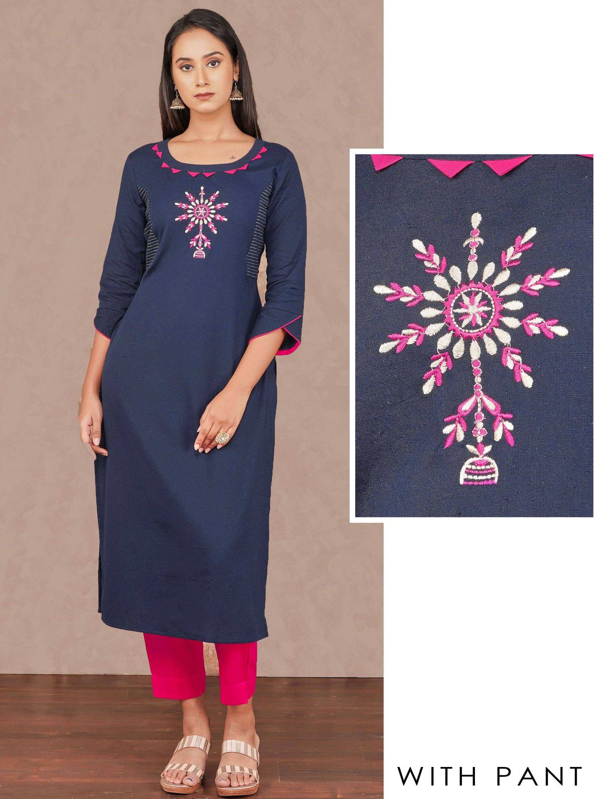 Placement Zari Embroidered Kurti & Solid Pant Set