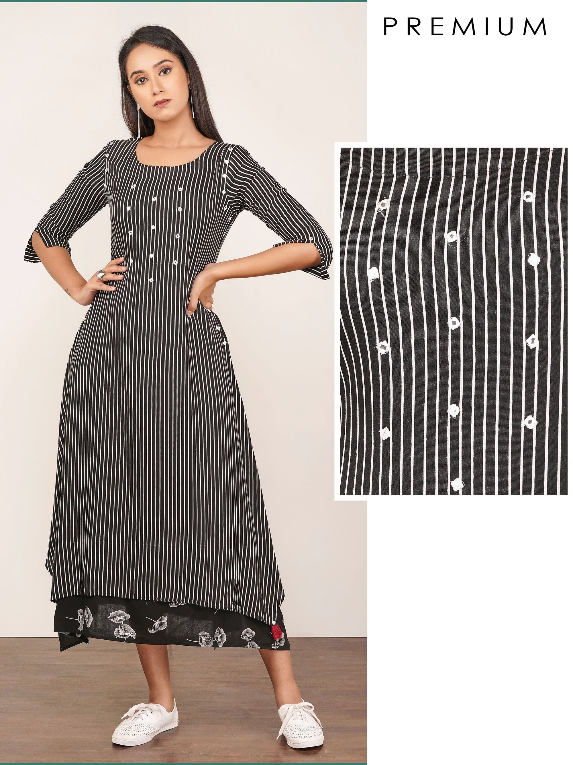 Foil Mirror worked & Double Layered Premium A-Line Kurti – Black