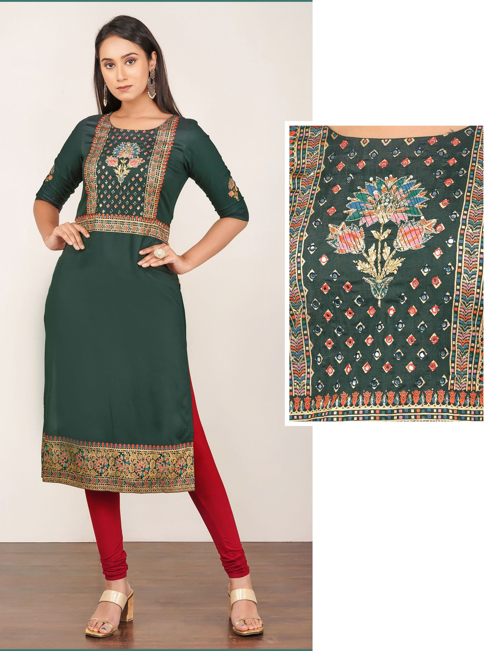 Sequins & Chain Embroidered Rayon Kurti – Seaweed Green
