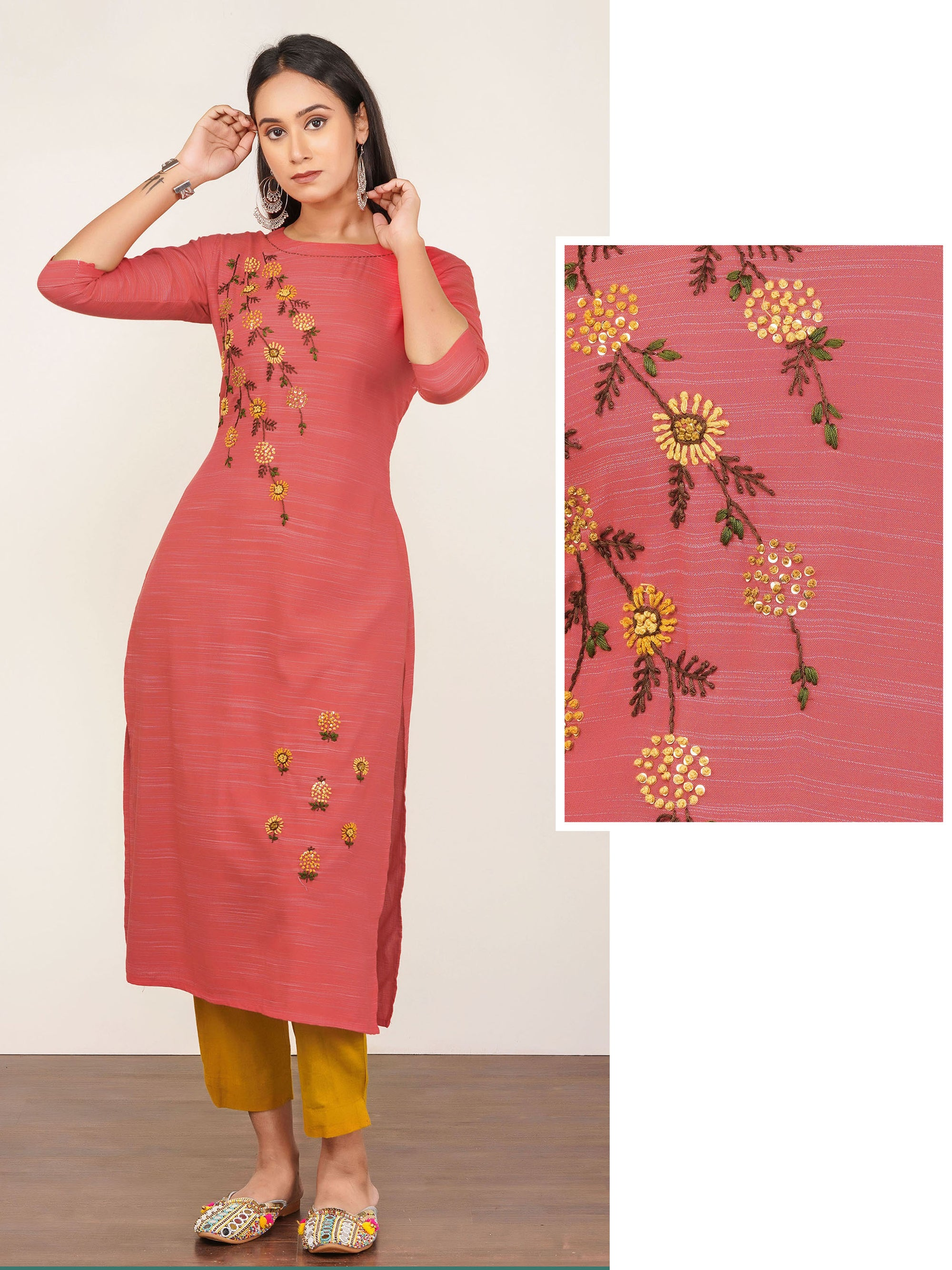 Floral Embroidered & Pin Striped Kurti