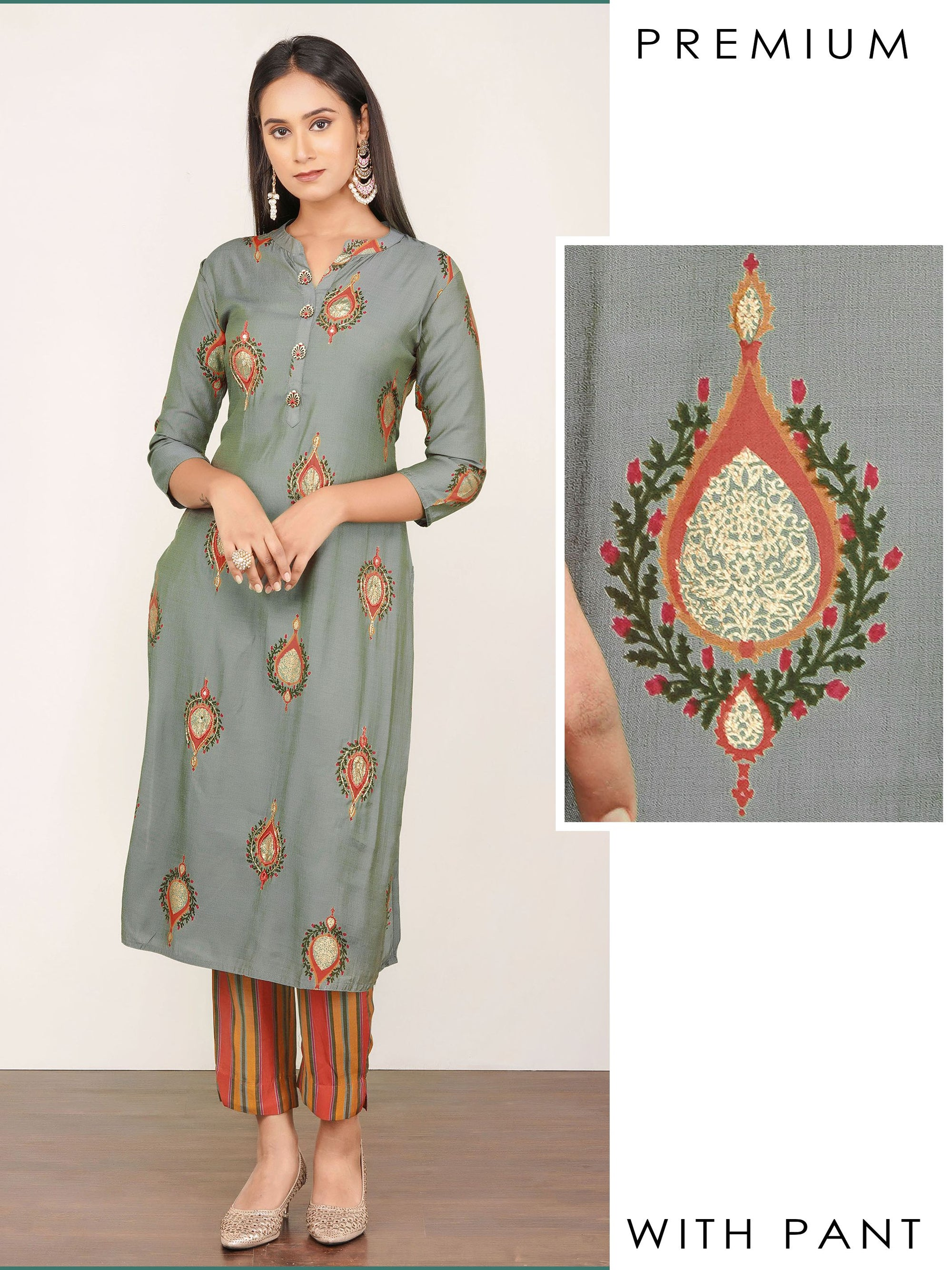 Floral Buta Print Kurti with Tubelight  Work & Stripped Pant Set