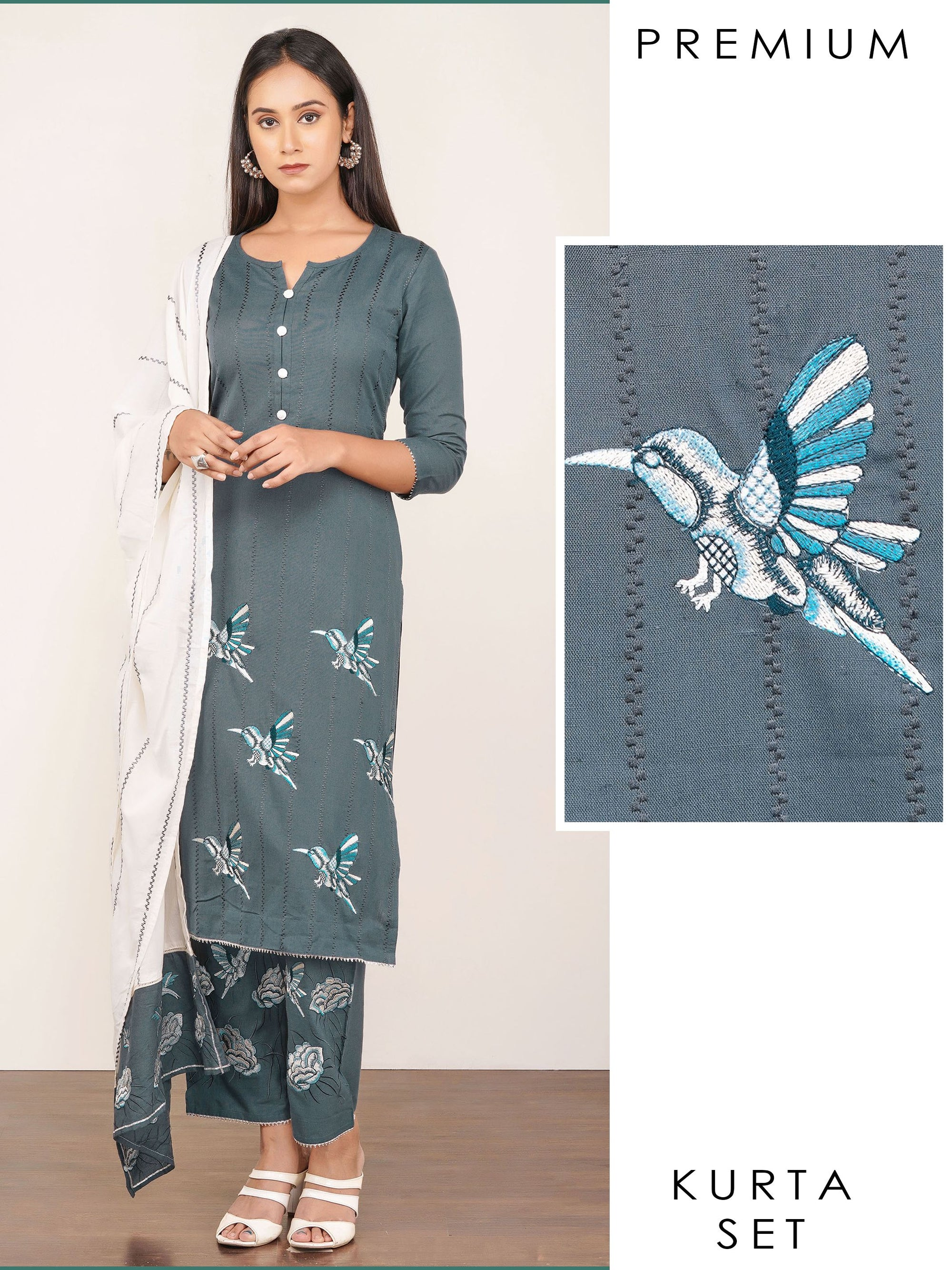 Bird Embroidered Kurti, Floral Embroidered Pant & Dupatta Set – Grey