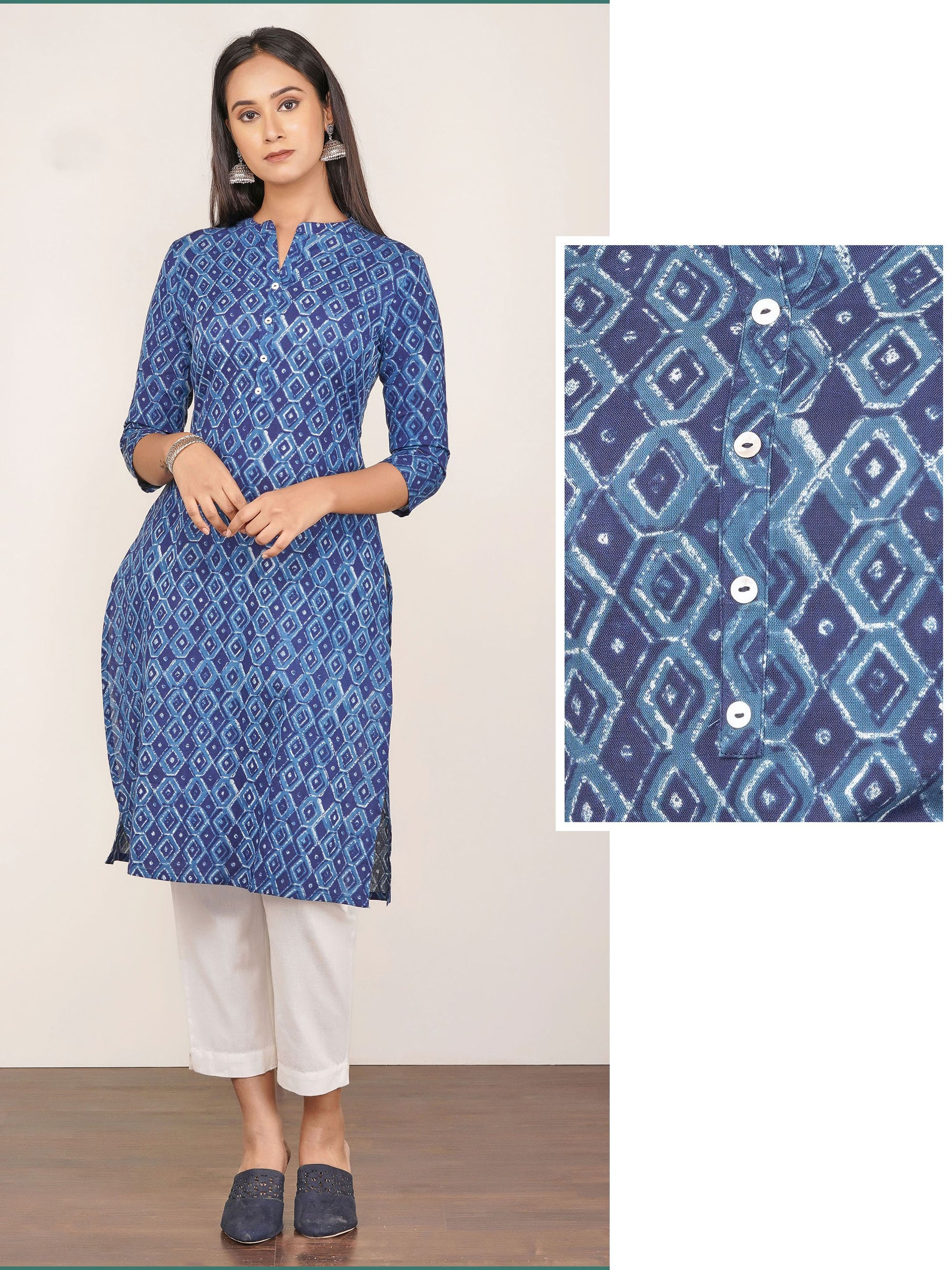 Hexagon & Diamond Printed Cotton Kurti