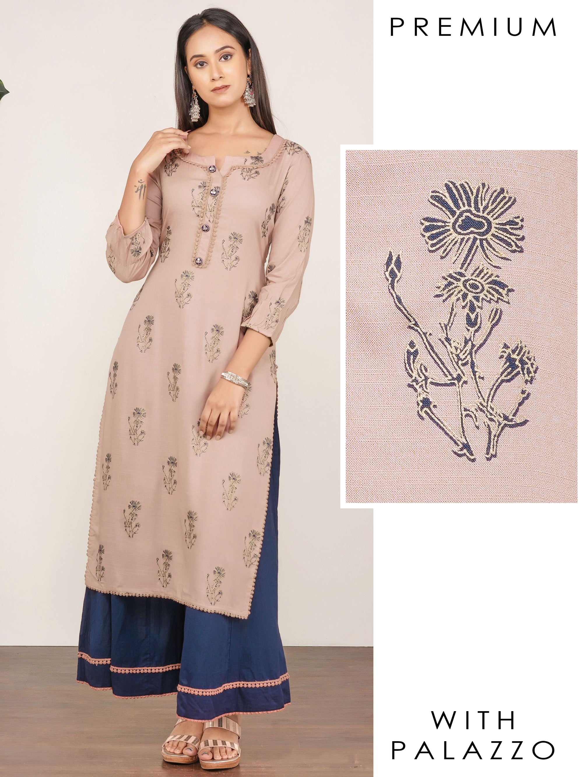 Floral Printed, Embroidered Kurti & Minimal Lace Detailed Palazzo Set– Pale Peach