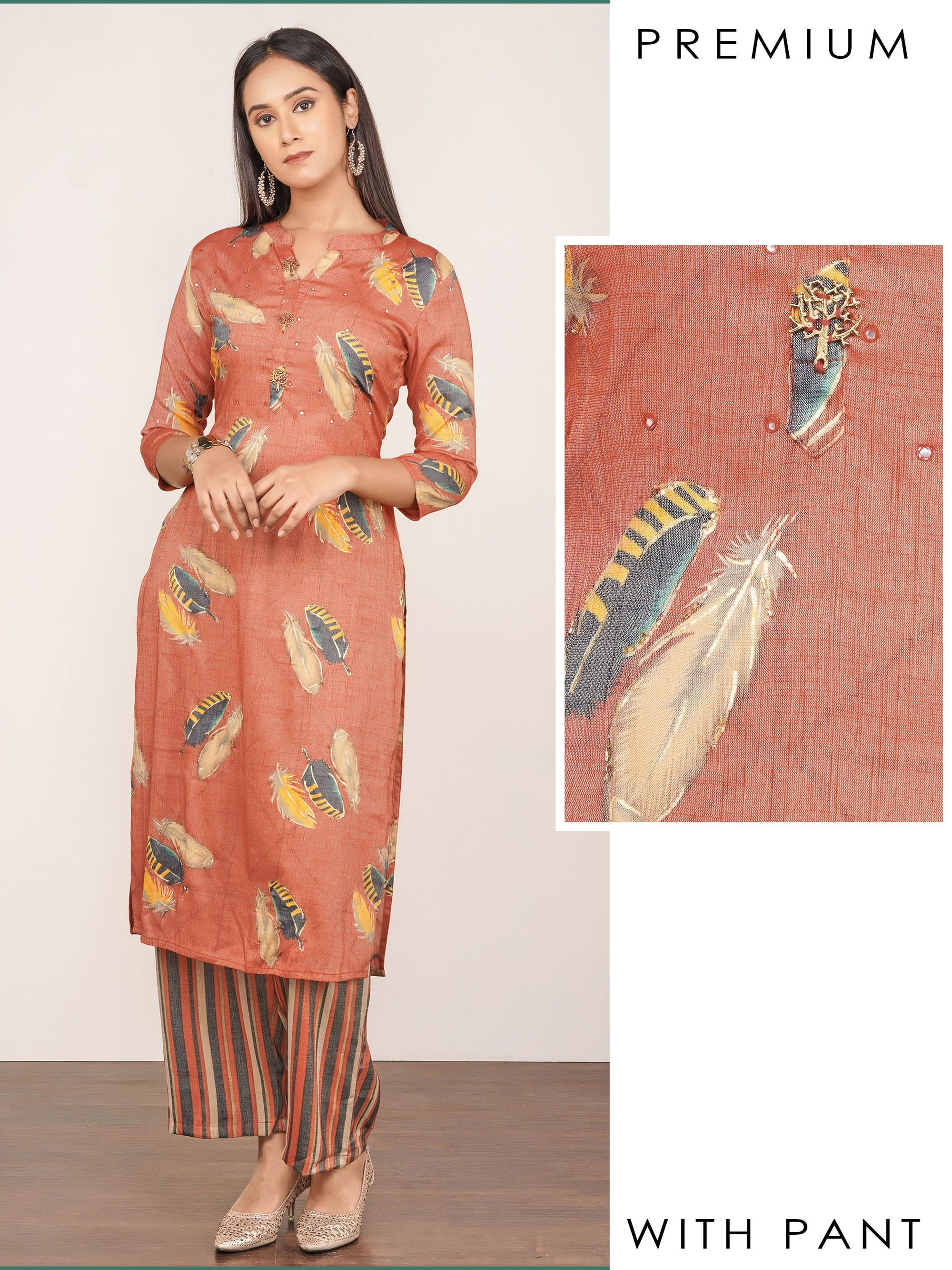 Cutdana Embellished, Feather Printed Kurti & Striped Pant Set – Orange