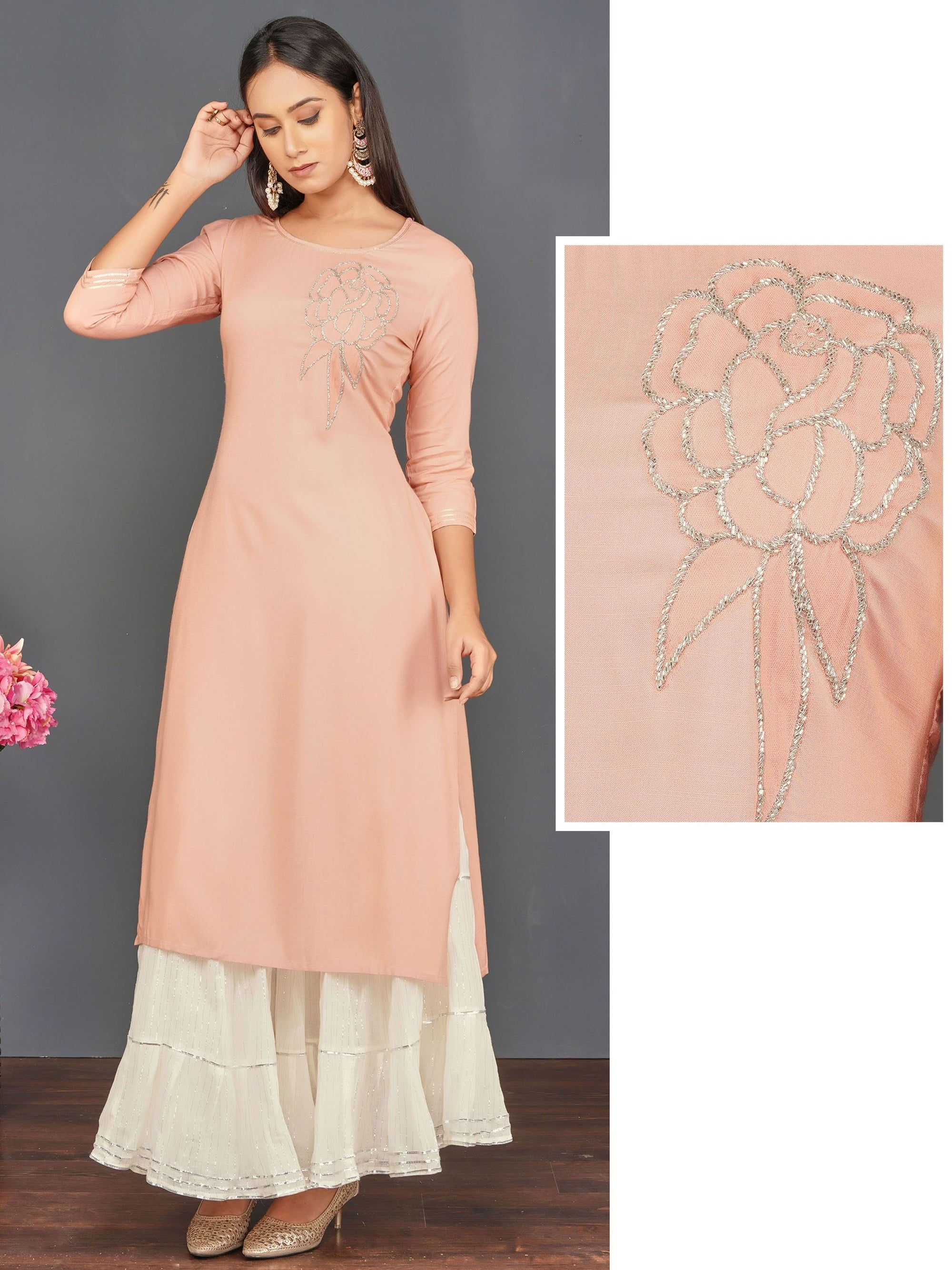 Cutdana Embellished Cotton Kurti – Peach
