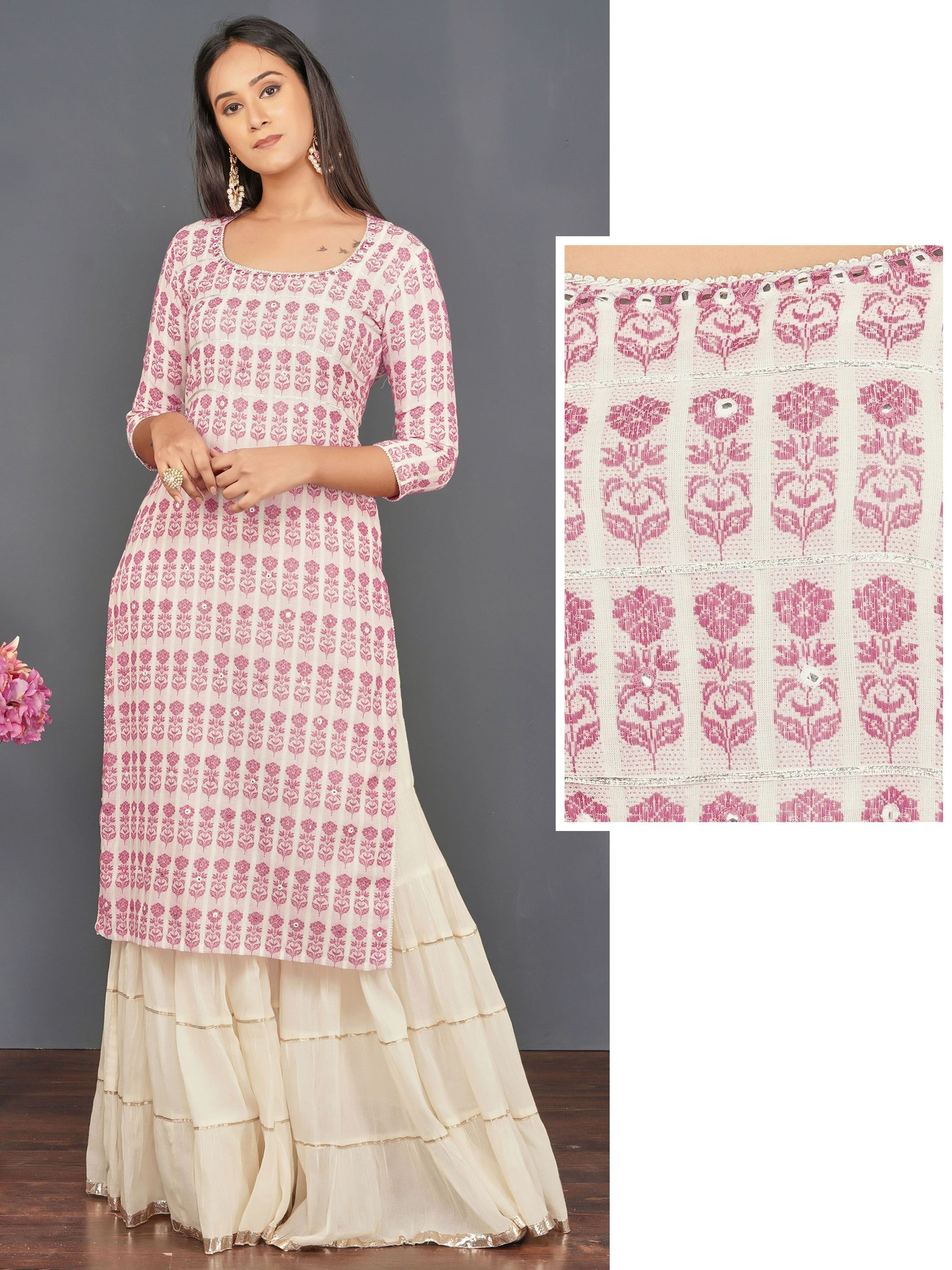 Foil Mirror Worked Floral Cotton Kurti – Pink