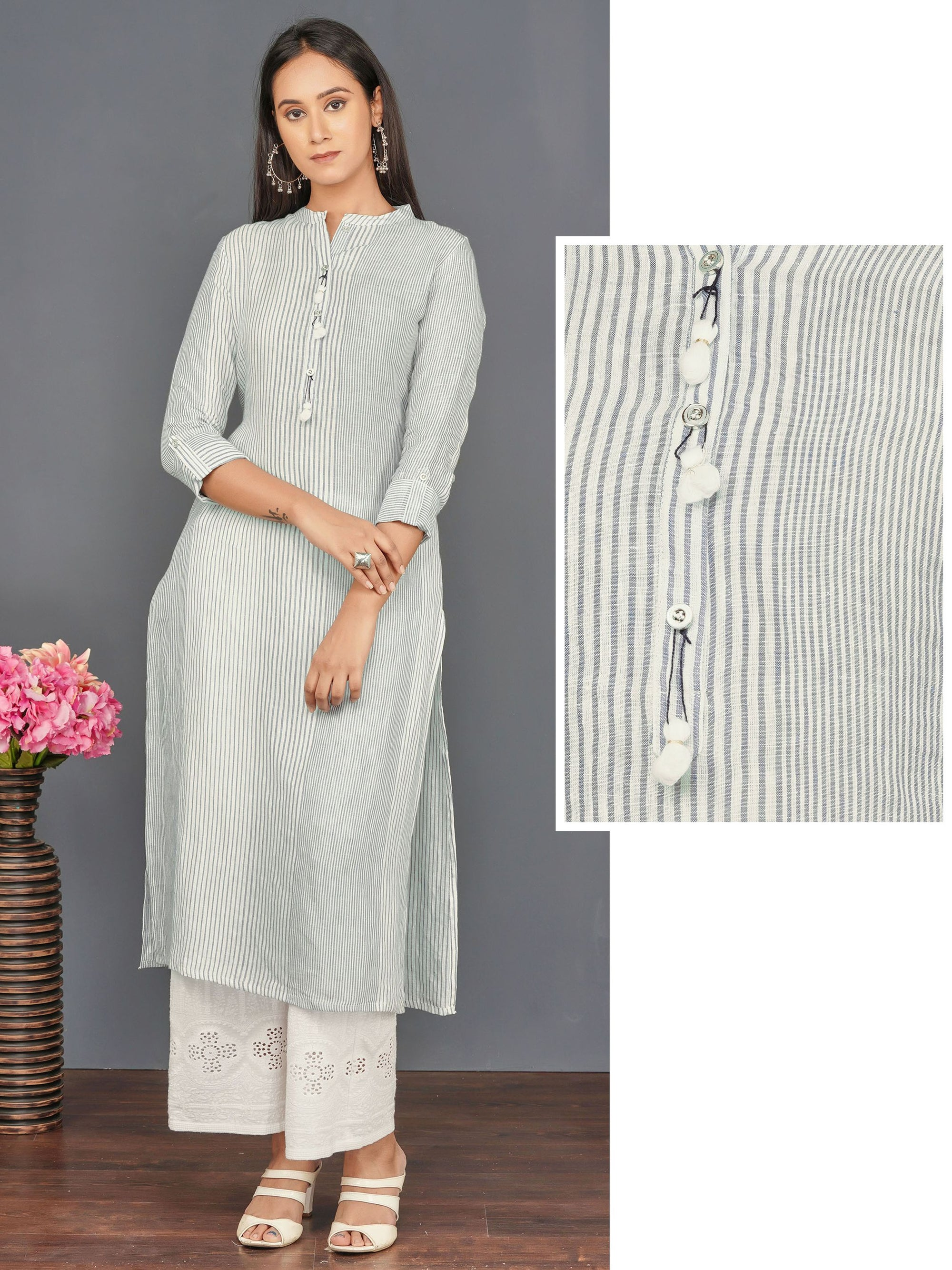 Pom-Pom Tassel Enhanced Vertical Striped Kurti