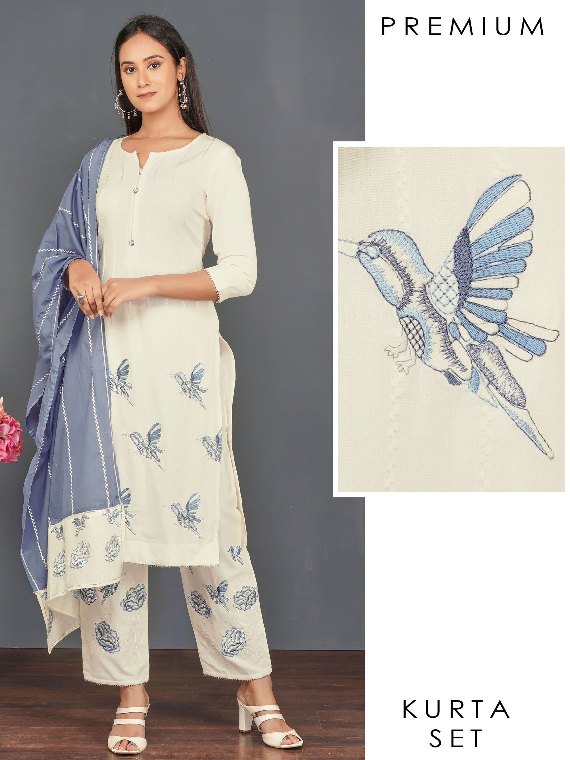 Bird Embroidered Kurti, Floral Embroidered Pant & Dupatta Set – Off-White