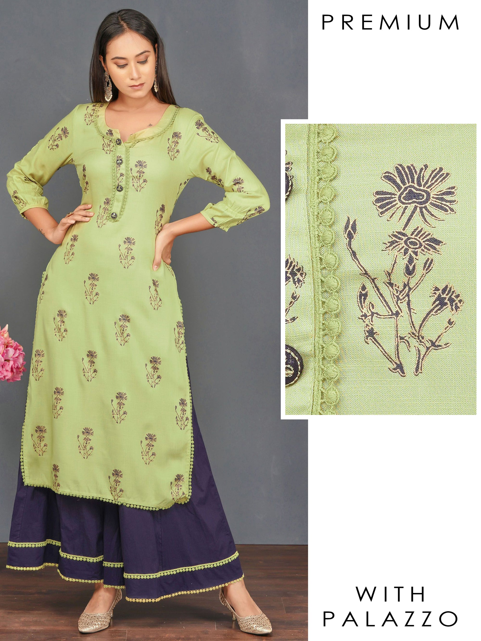 Floral Printed, Embroidered Kurti & Minimal Lace Detailed Palazzo Set– Green