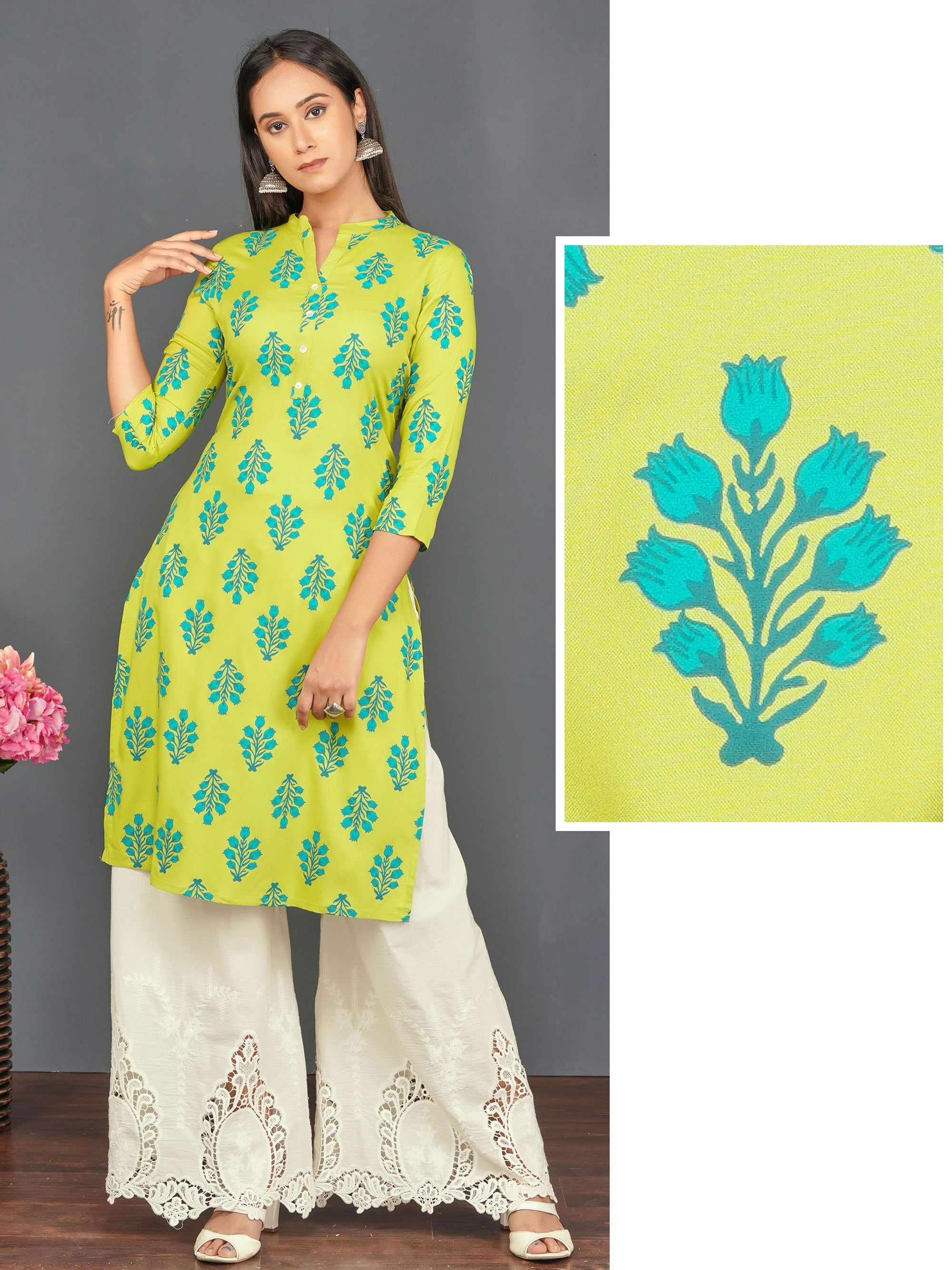 Tulip Floral Printed Kurti with Mother of Pearl Buttons