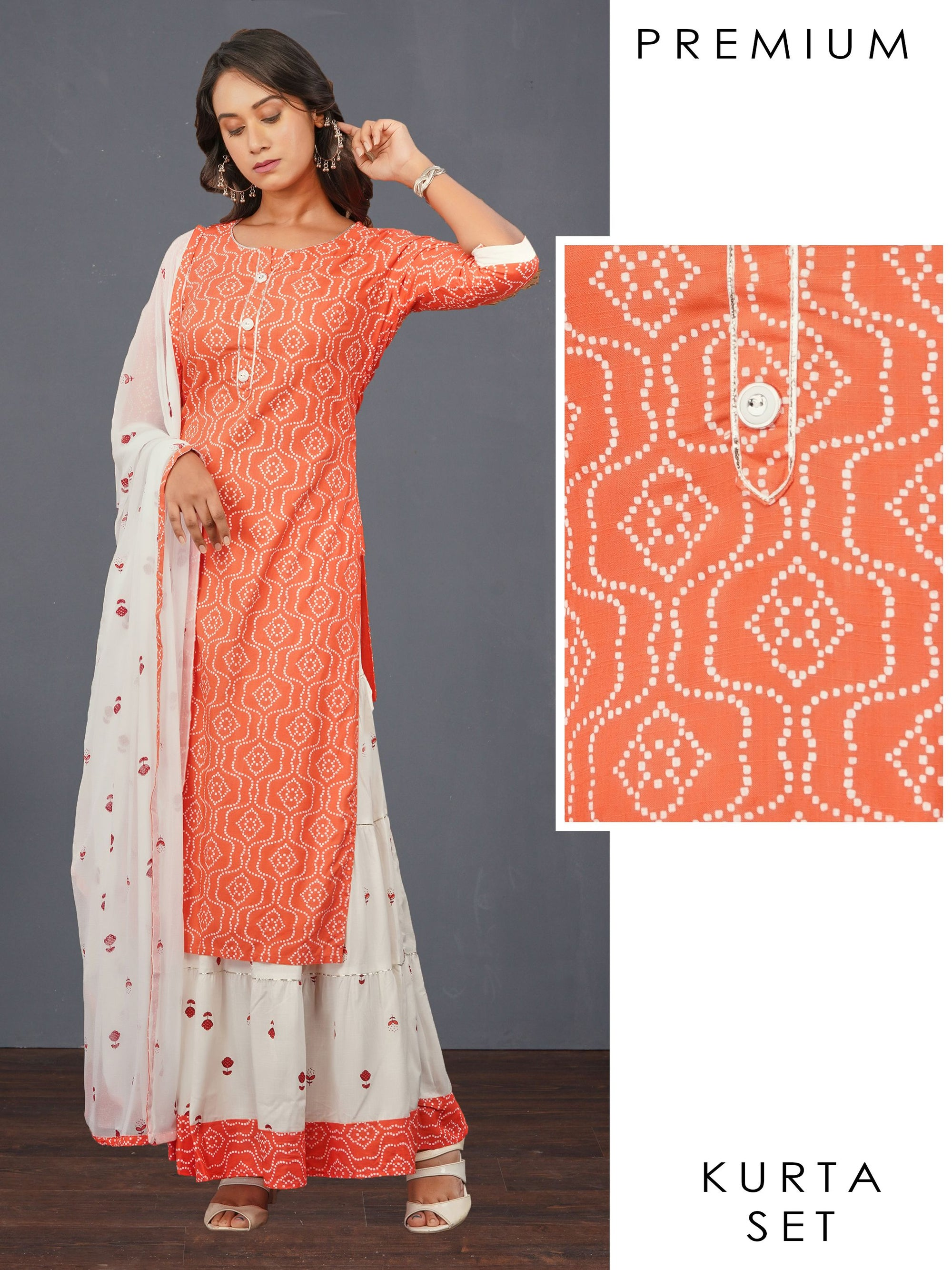Abstract Printed Kurti, Tiered Skirt & Floral Printed Dupatta Set – Orange