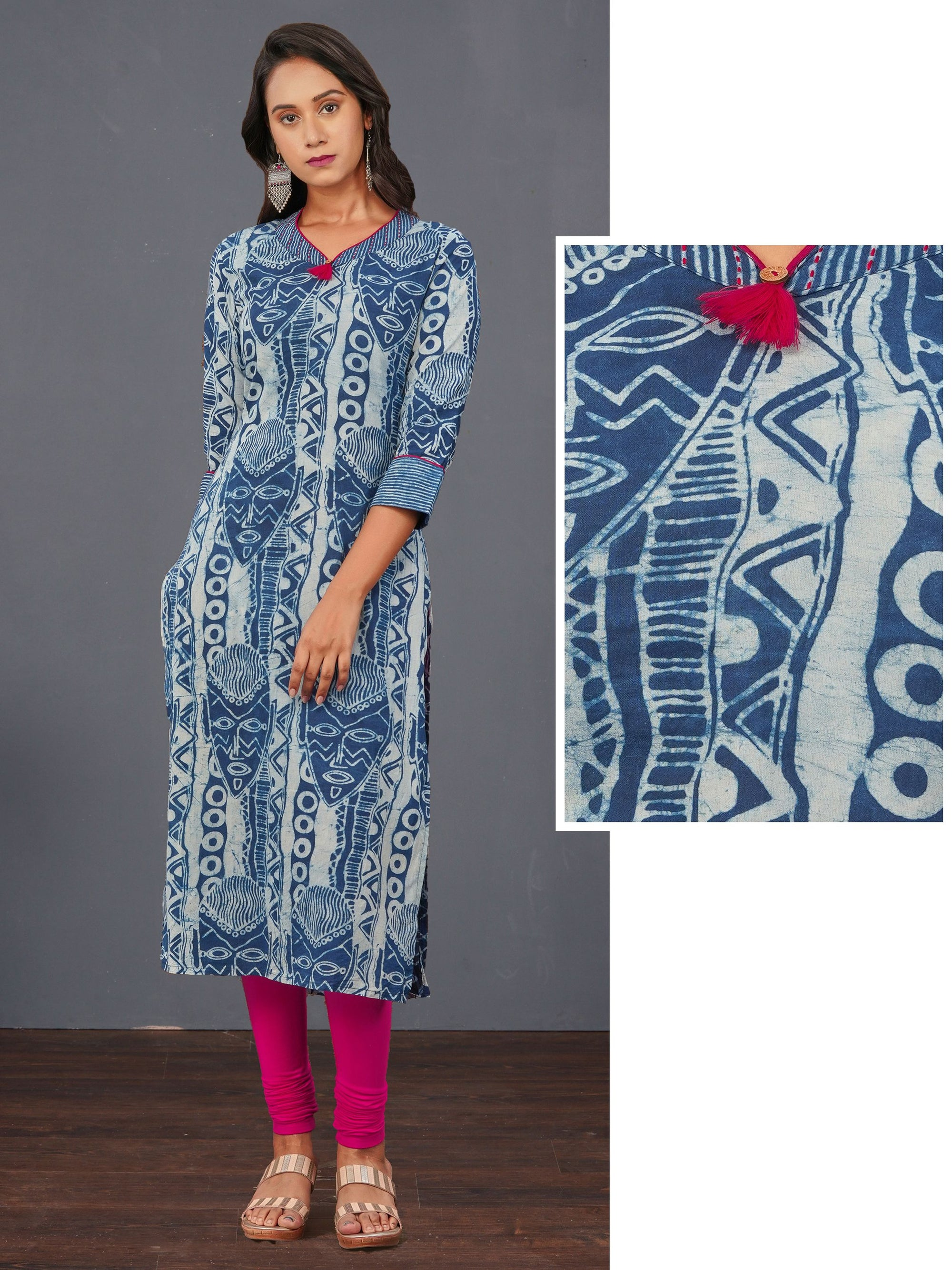 Tribal Face Printed Indigo Cotton Kurti – Indigo
