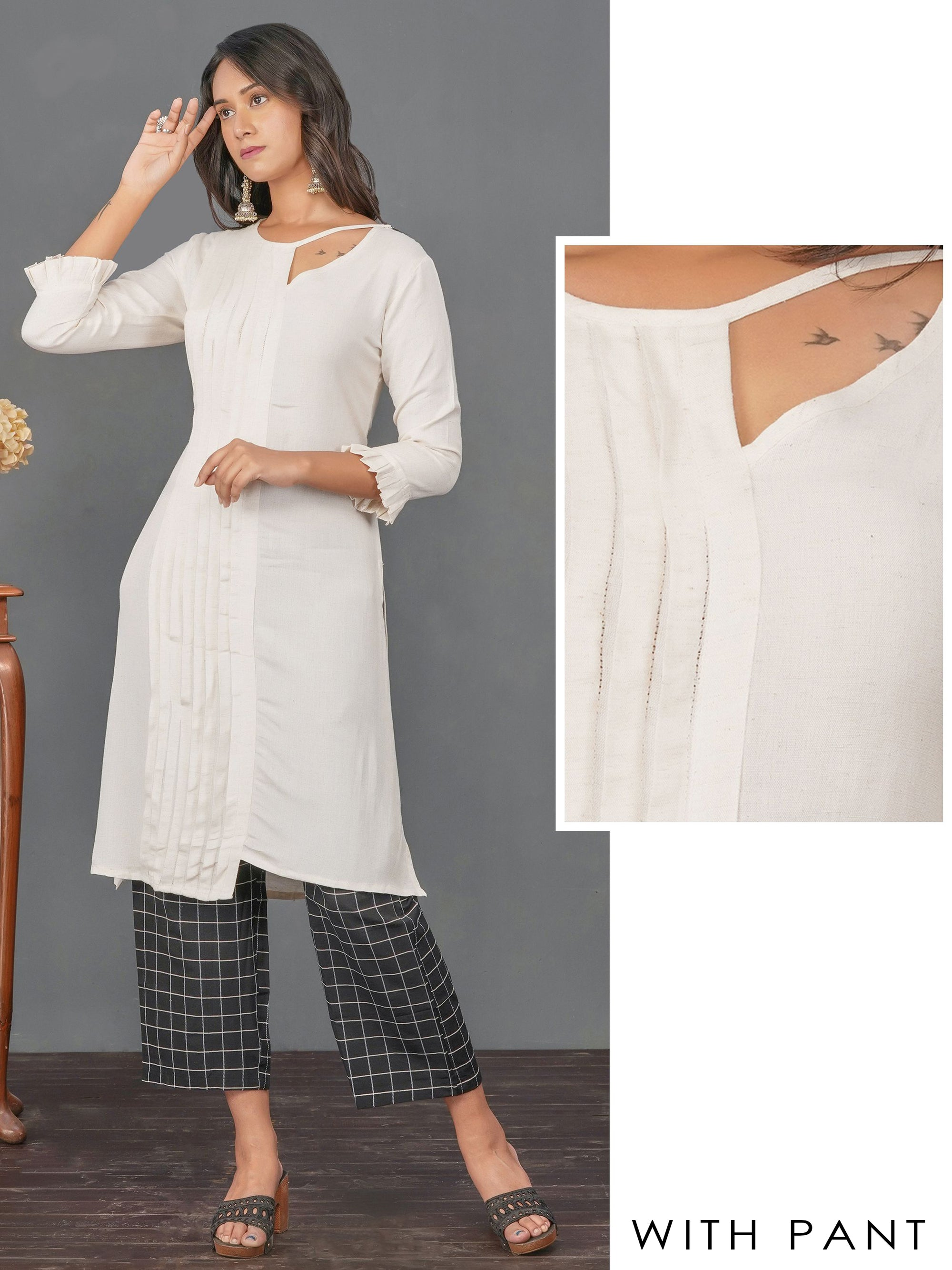 Stylish Cut-Out & Pin Tuck Kurti with Checkered Pant Set – White