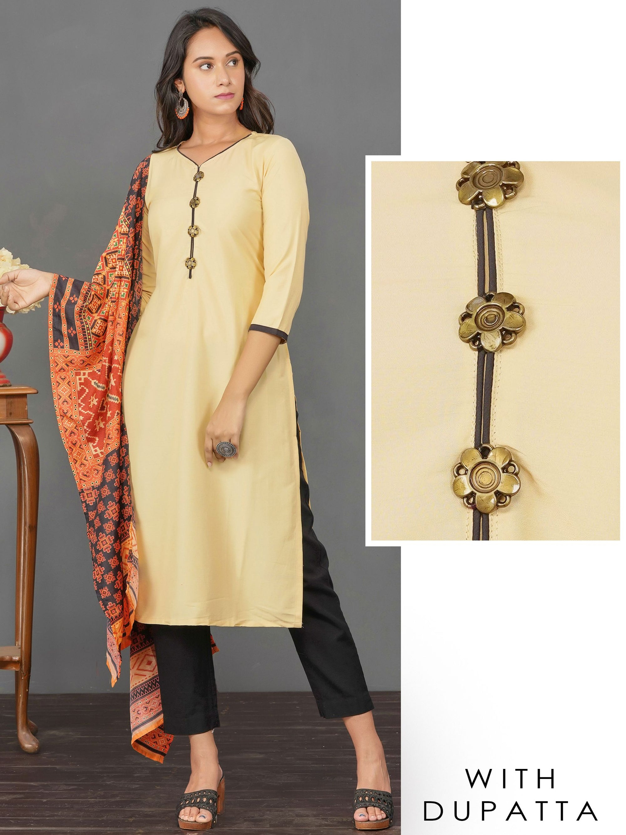 Antique Brooch Enhanced Kurti & Contrast Printed Dupatta Set