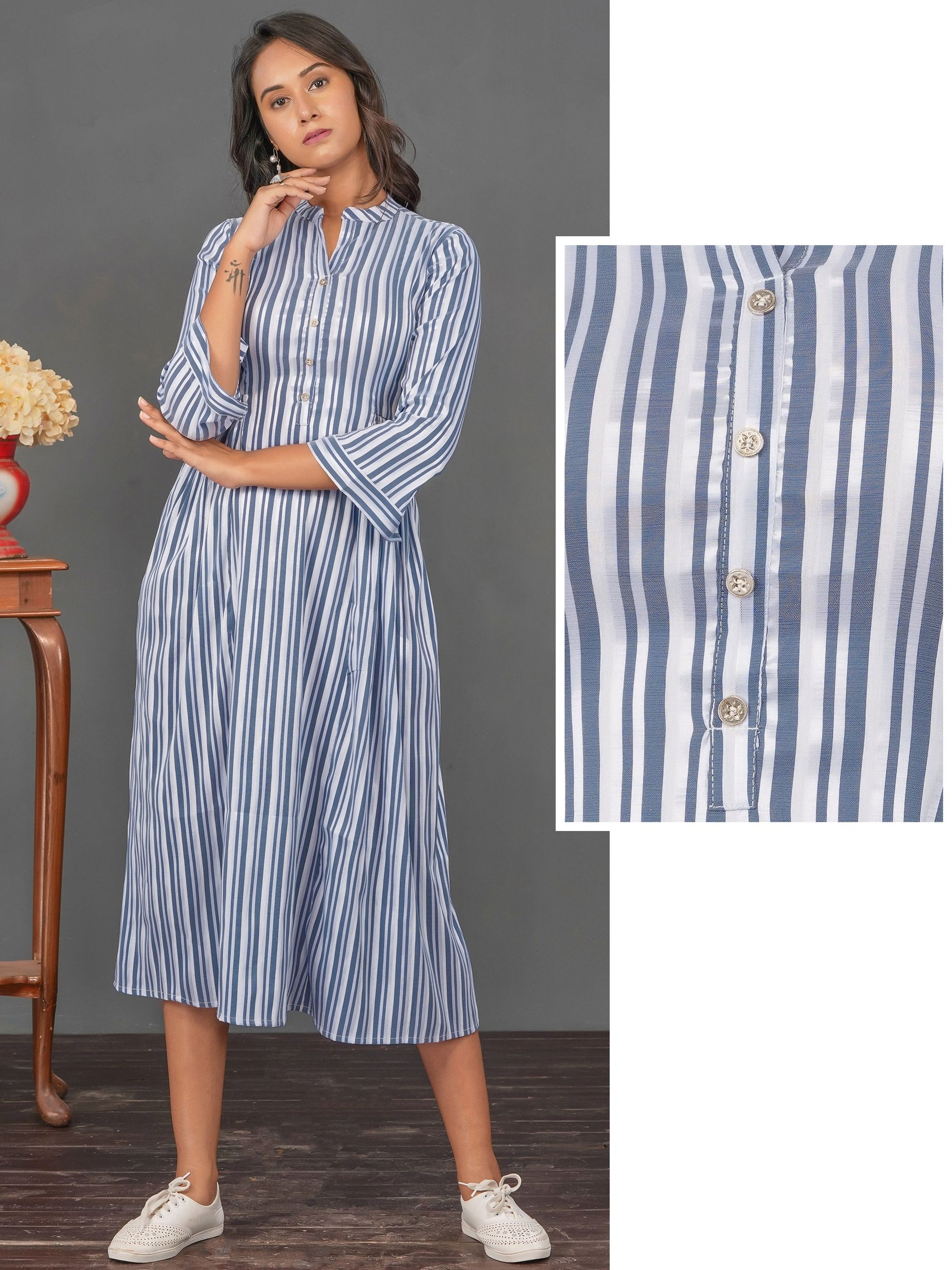 Vertical Striped & Side Gathered Maxi