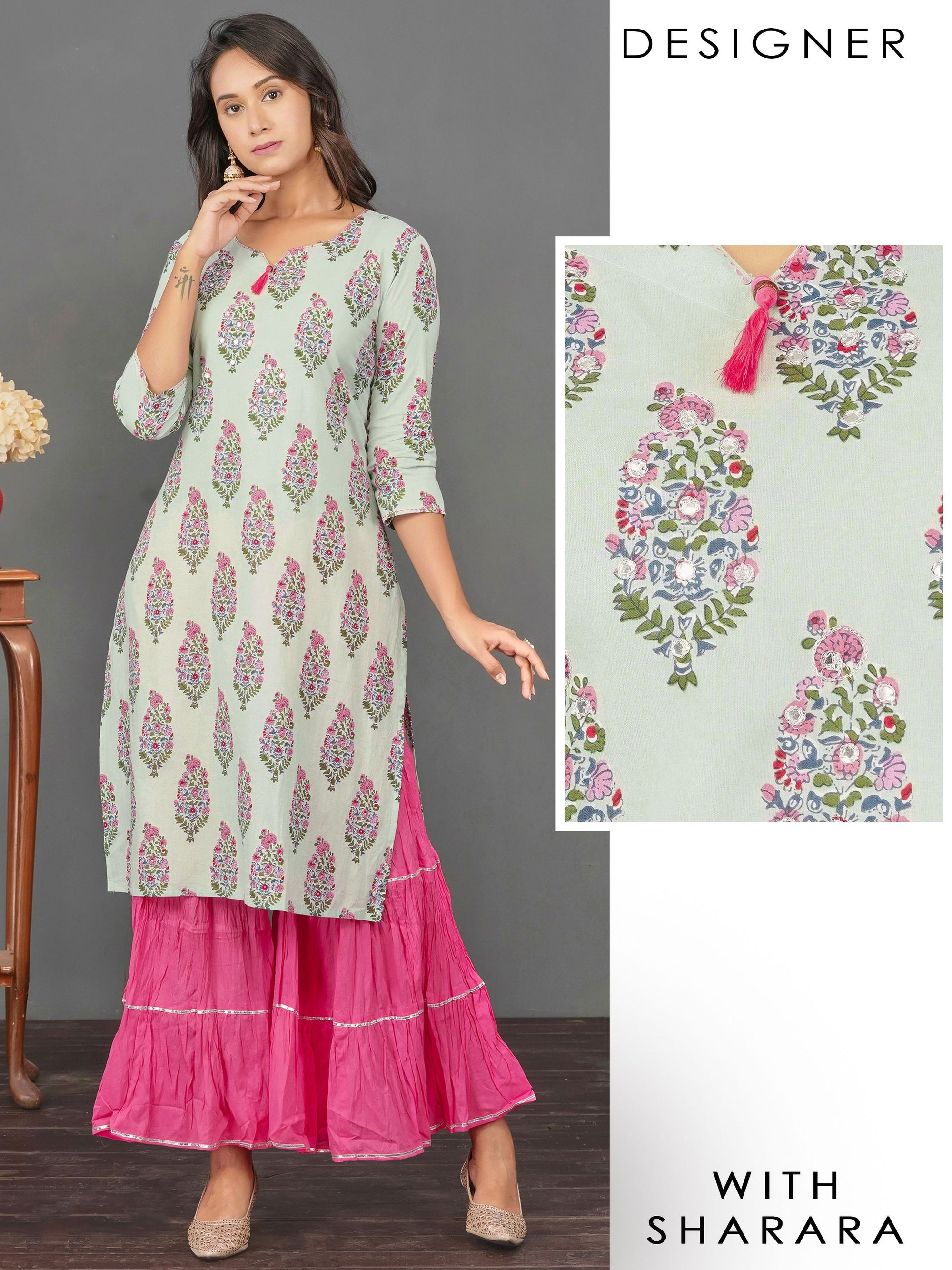 Floral Printed & Chain Embroidered Kurti with Gota Lace Crushed Sharara