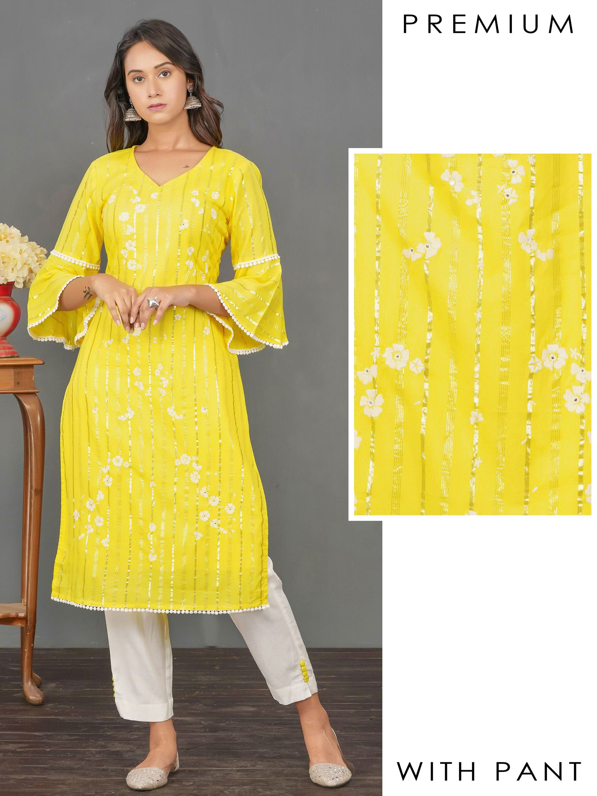 Minimal Florla Embroidered Zari Striped Kurti & Solid Pant Set