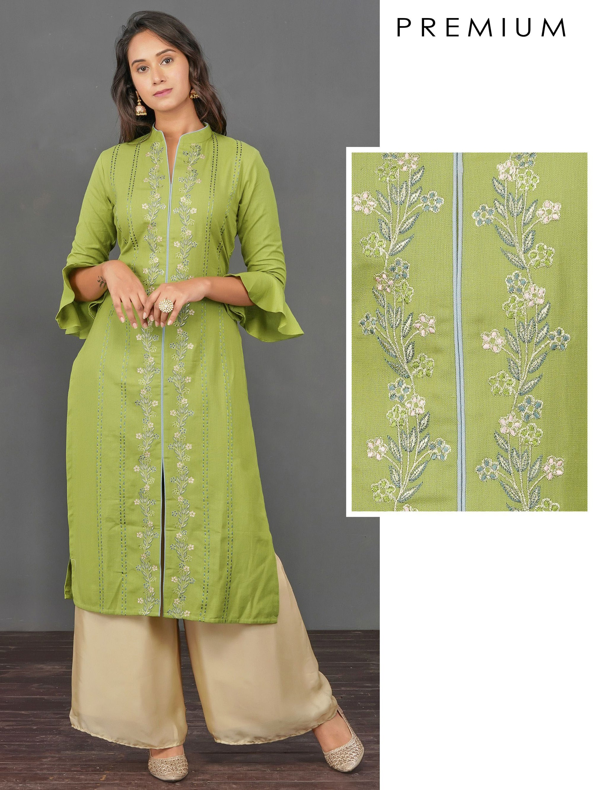 Floral & Chain Embroidered Cotton Kurti– Olive Green