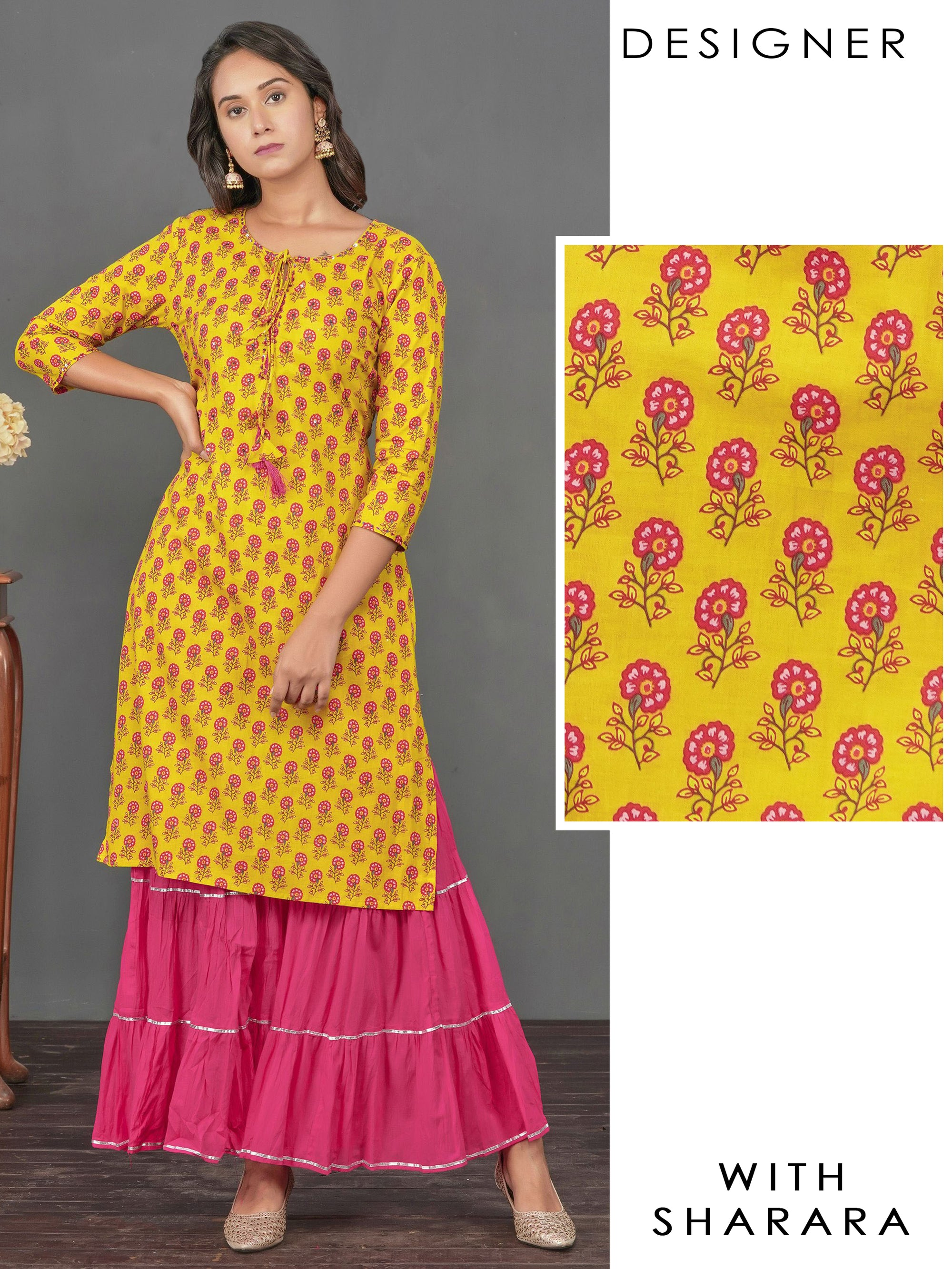 Floral Printed & Sequins Detailed Kurti with Gota Lace Crushed Sharara – Mustard
