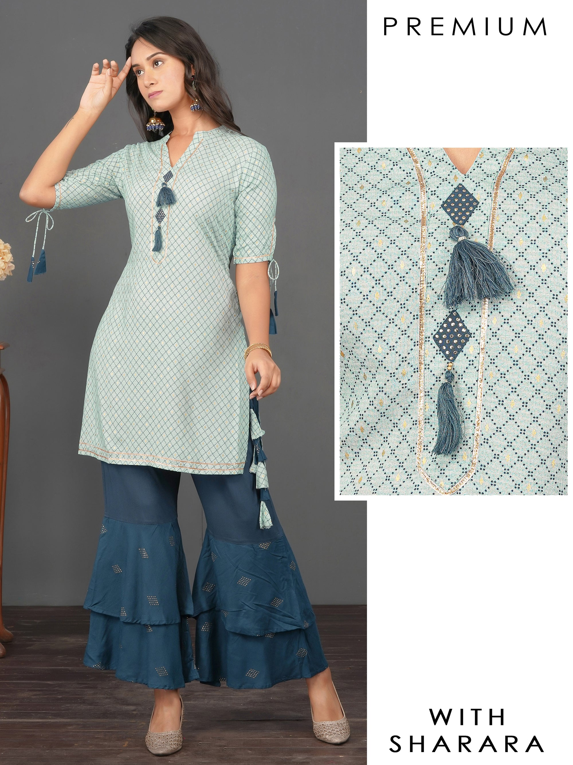 Diamond Printed Gota Kurti & Bias Cut Sharara Set