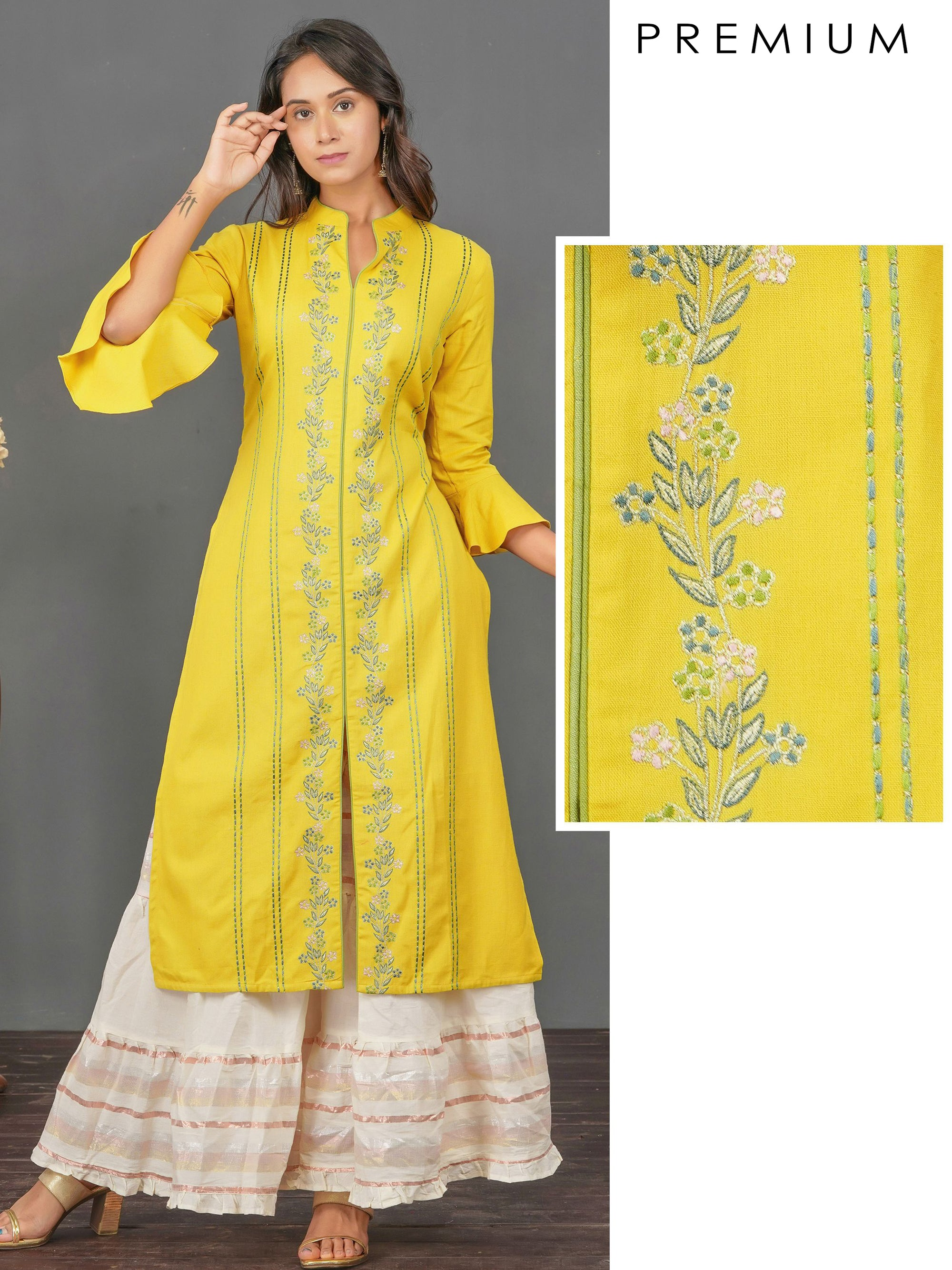 Floral & Chain Embroidered Cotton Kurti– Mustard