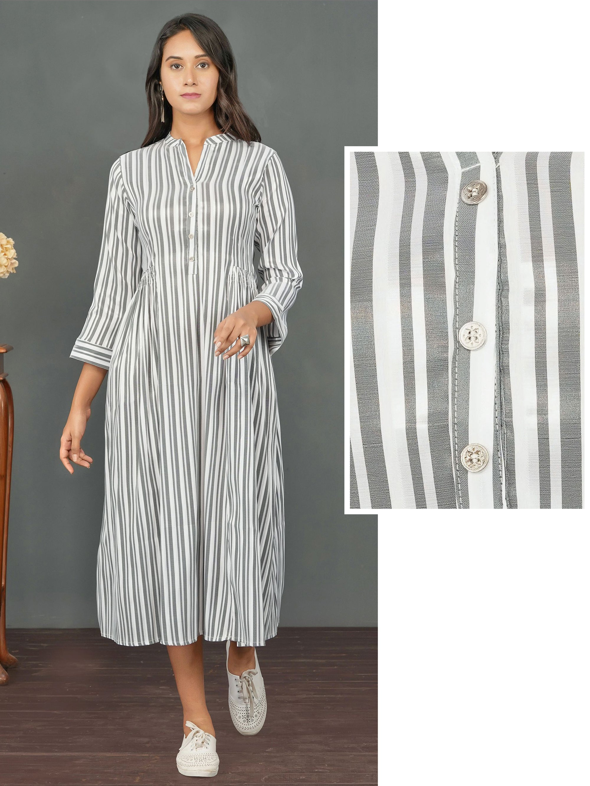 Vertical Striped & Side Gathered Maxi – Charcoal Grey